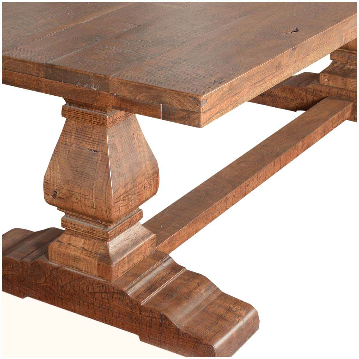 Trestle Pedestal Traditional Eco Friendly Wood Rustic Dining Table