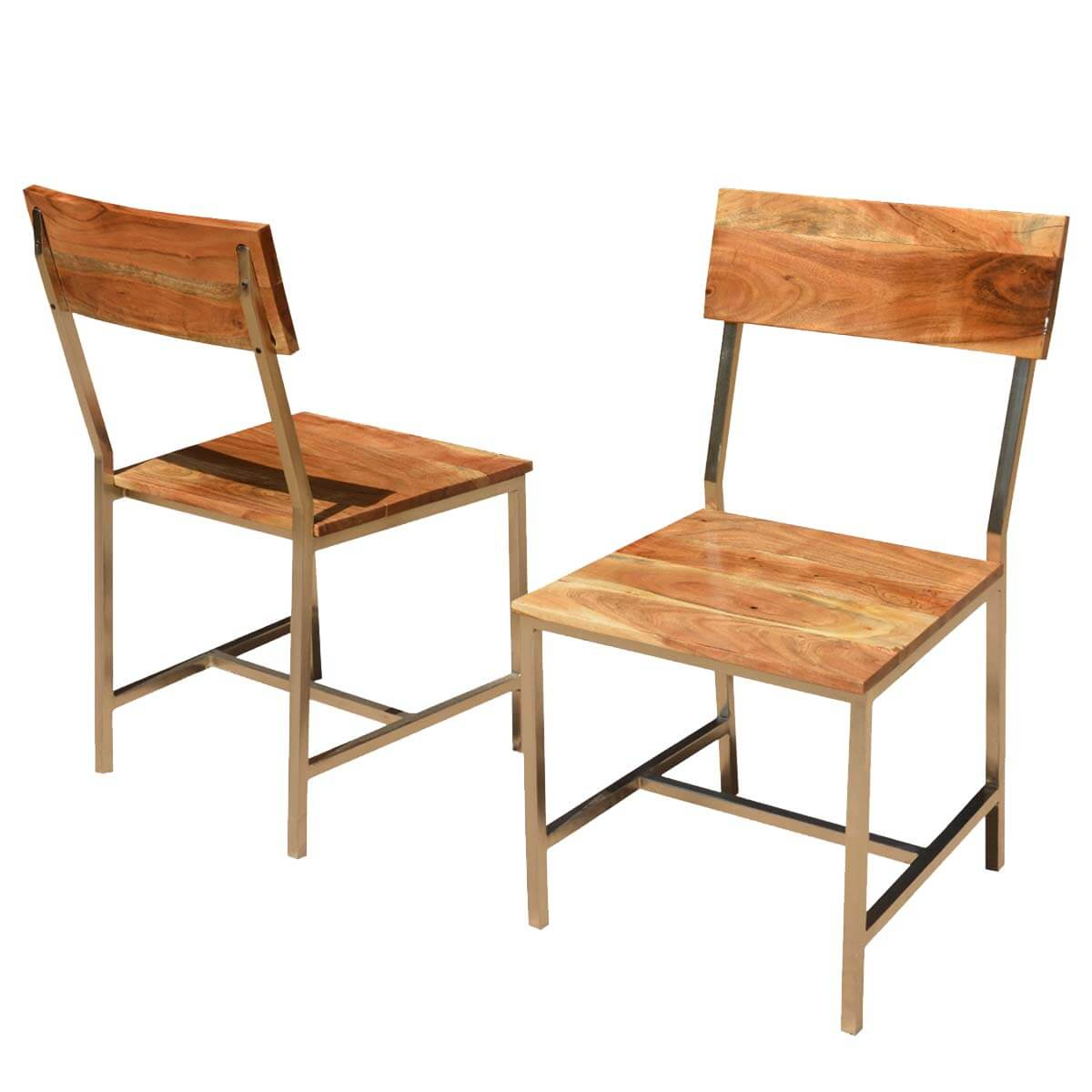 Iron Dining Chairs ~ Solid wood iron rustic dining chair set of