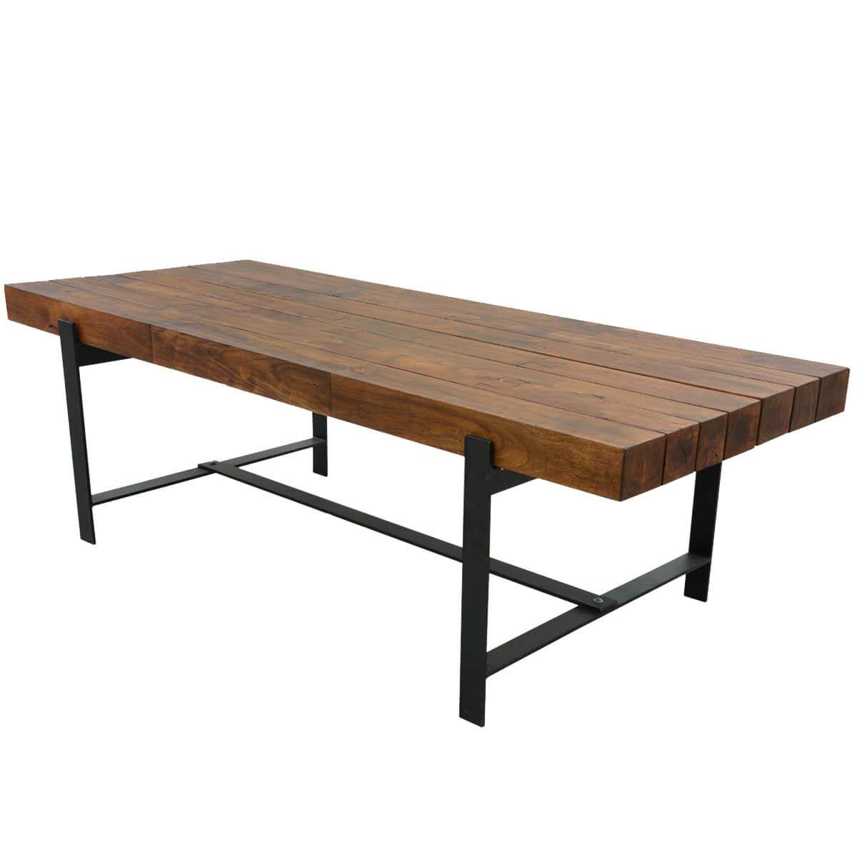 Industrial iron acacia wood 94 large rustic dining table for Biggest dining table