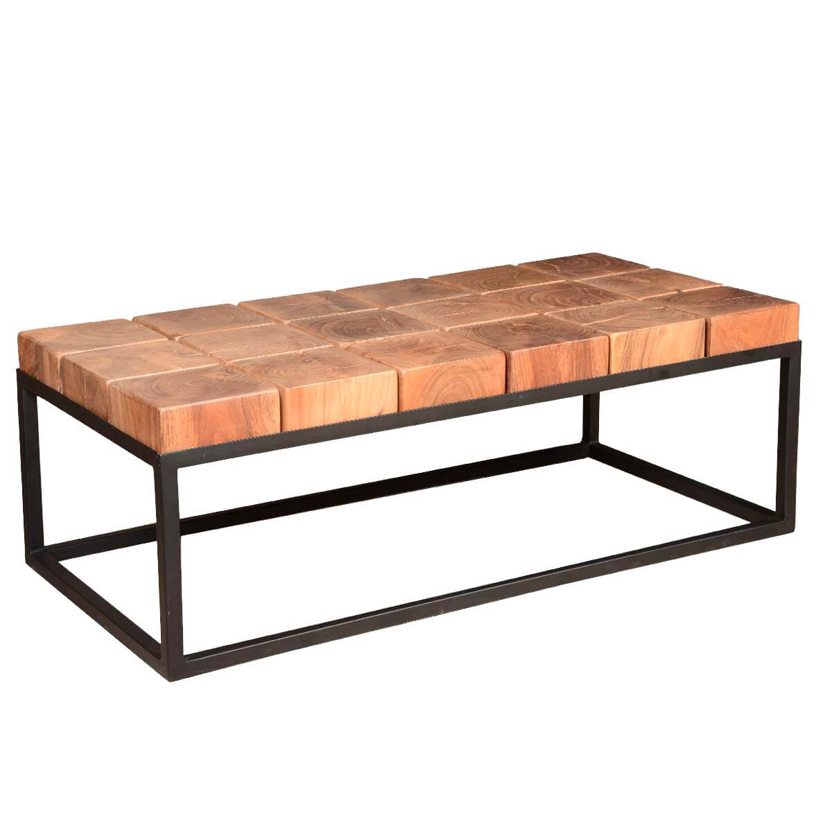 Solid acacia wood block contemporary iron base rustic coffee table Rustic iron coffee table