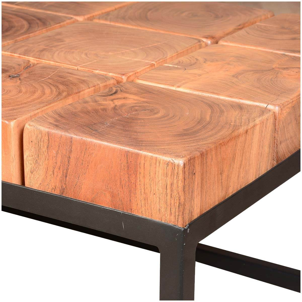 Solid acacia wood block contemporary iron base rustic for Solid block wood coffee table