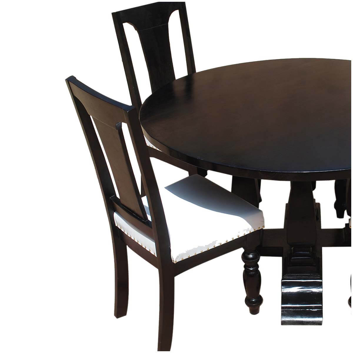 chair sets california solid wood leather 7p round dining room set