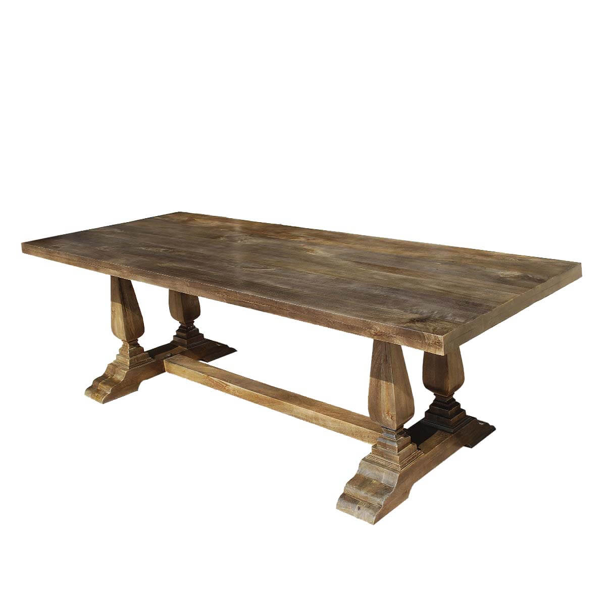 Pelham Rustic 98 Solid Wood Trestle Pedestal Dining Table