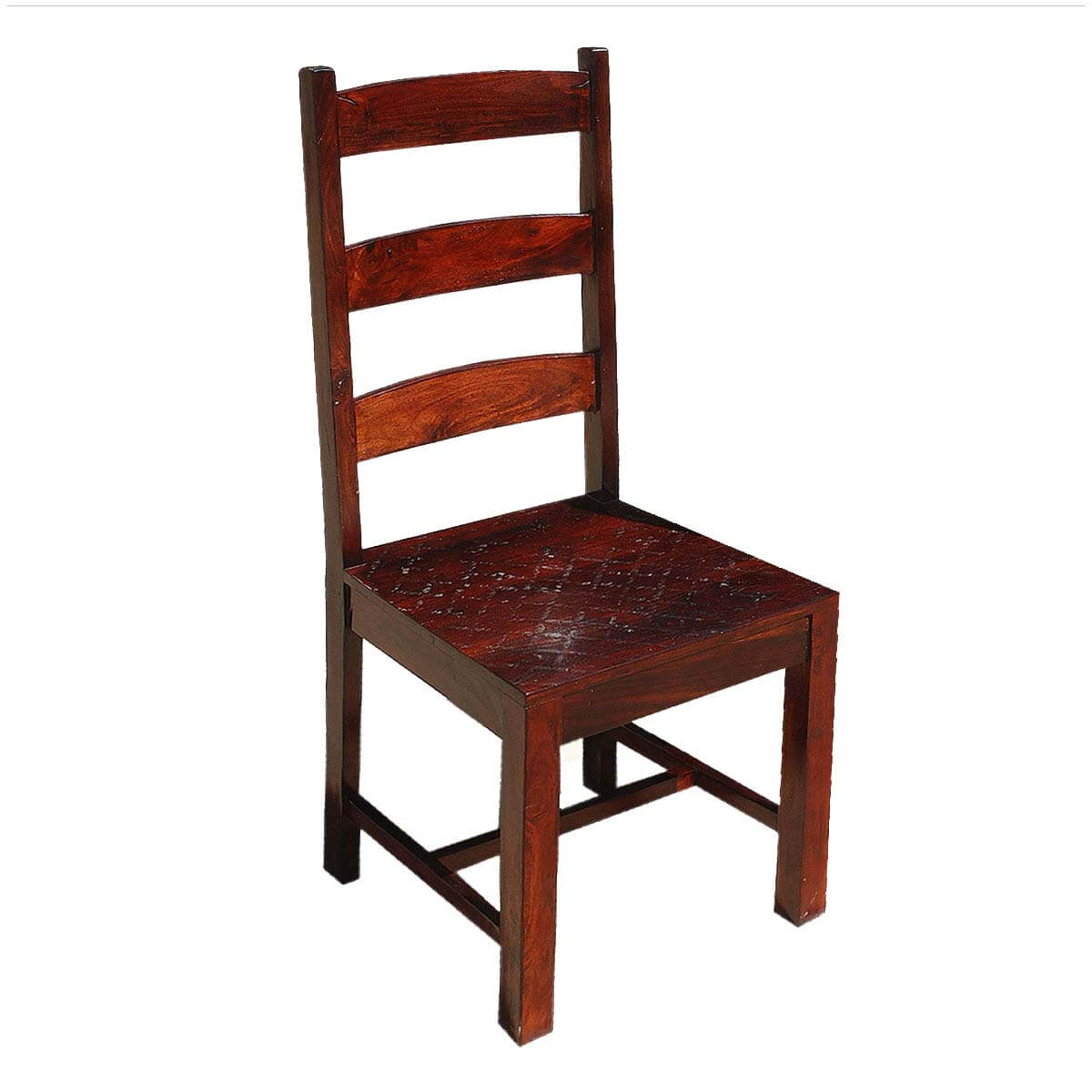Oklahoma farmhouse solid wood ladder back chairs set of