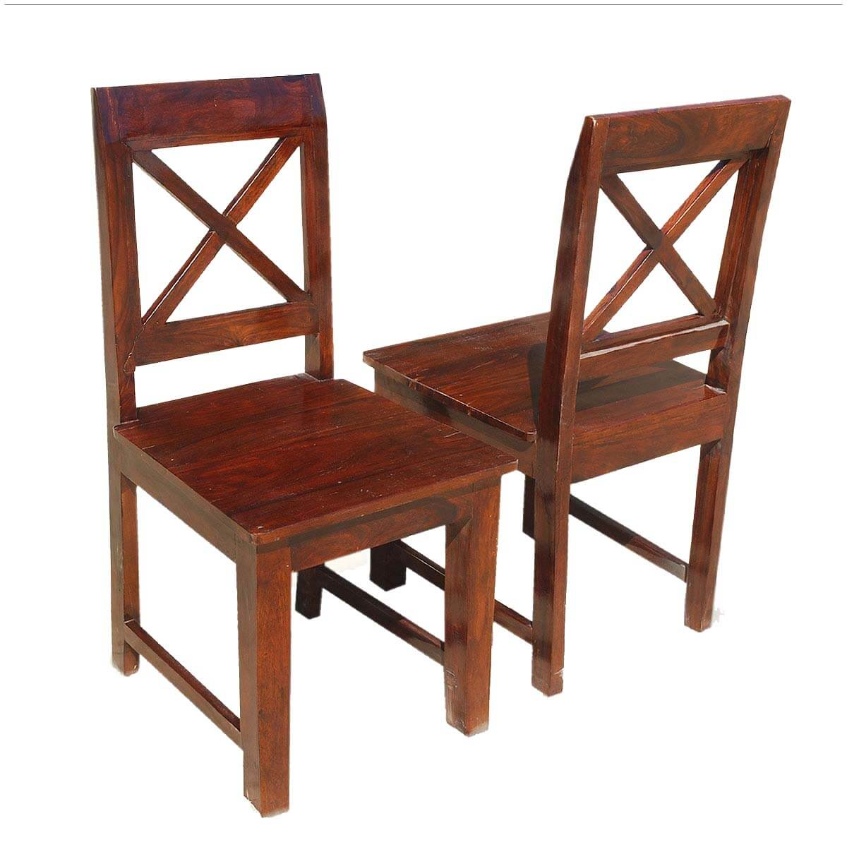 Oklahoma farmhouse solid wood x back dining chair set of 2 for X back dining room chairs