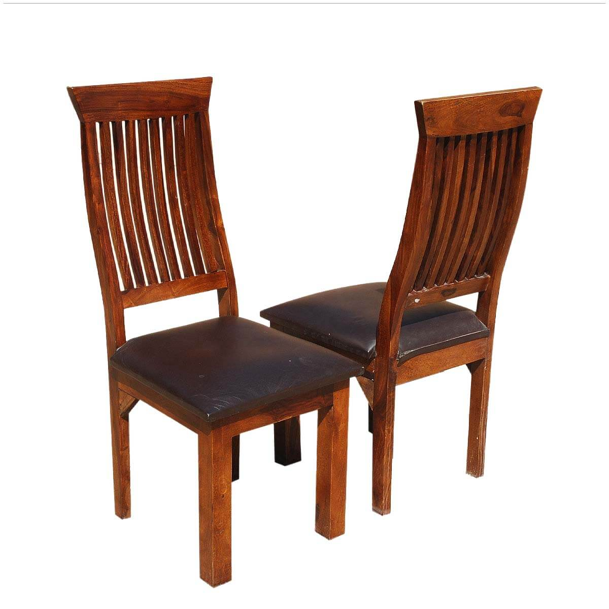 Ergonomic solid wood leather dining chair set of 2 for Wood and leather dining chair
