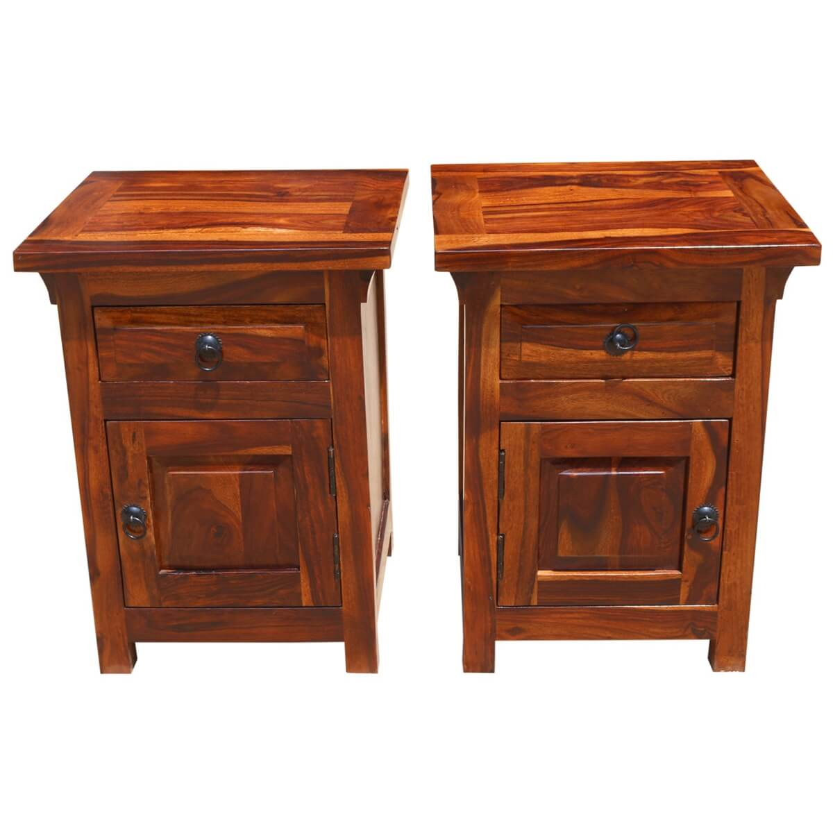 Rustic farmhouse solid wood nightstand end table cabinets for Rustic nightstands
