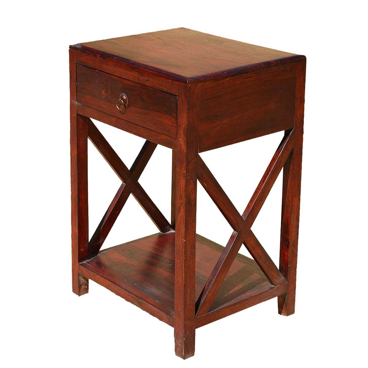 amberley double x solid wood 2 tier 1 drawer end table. Black Bedroom Furniture Sets. Home Design Ideas