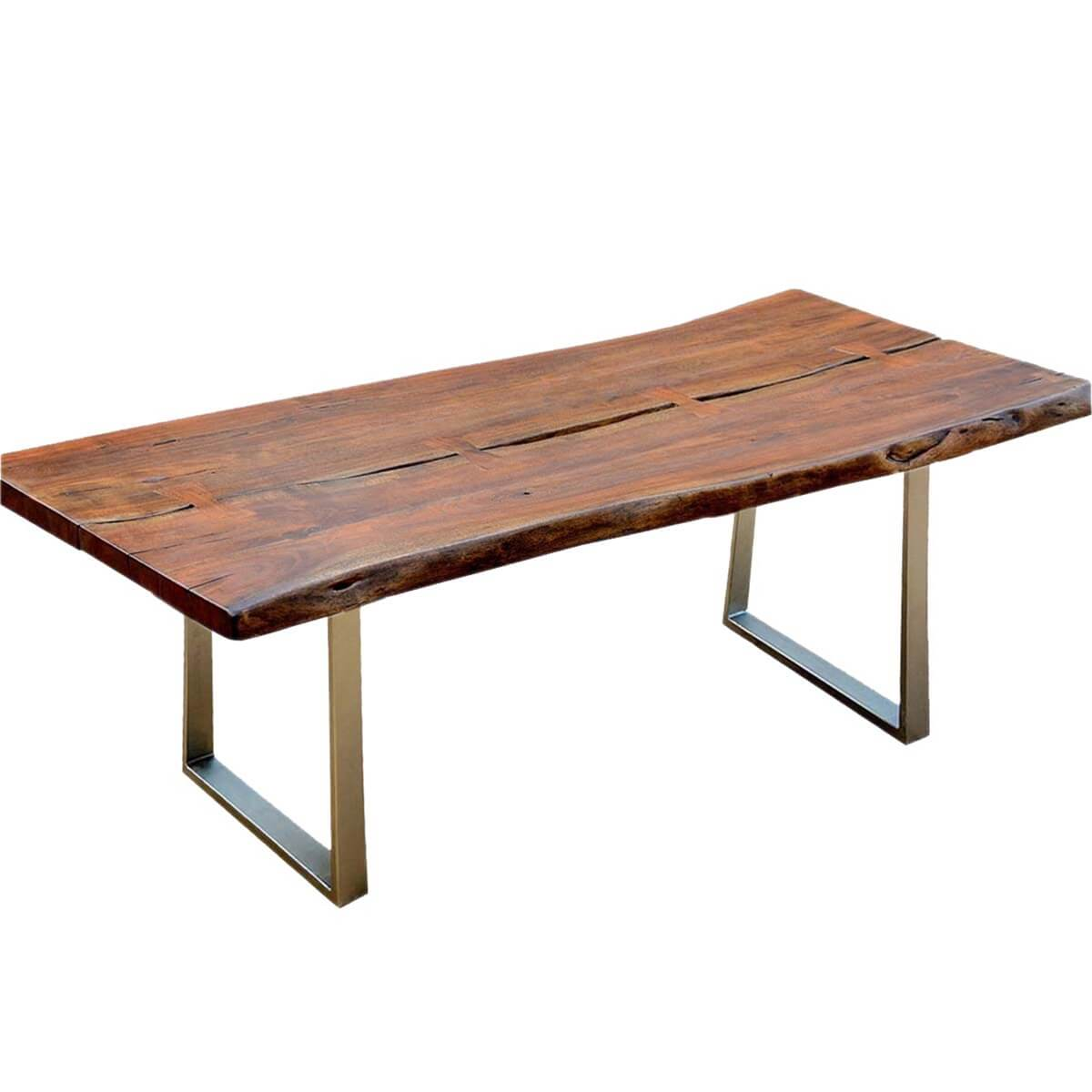 Live edge acacia wood iron rustic large dining table for Dinner table wood