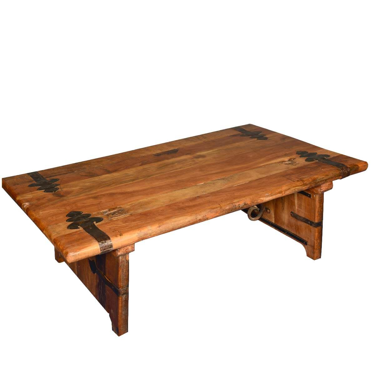 Rustic reclaimed wood wrought iron hastings coffee table Rustic iron coffee table