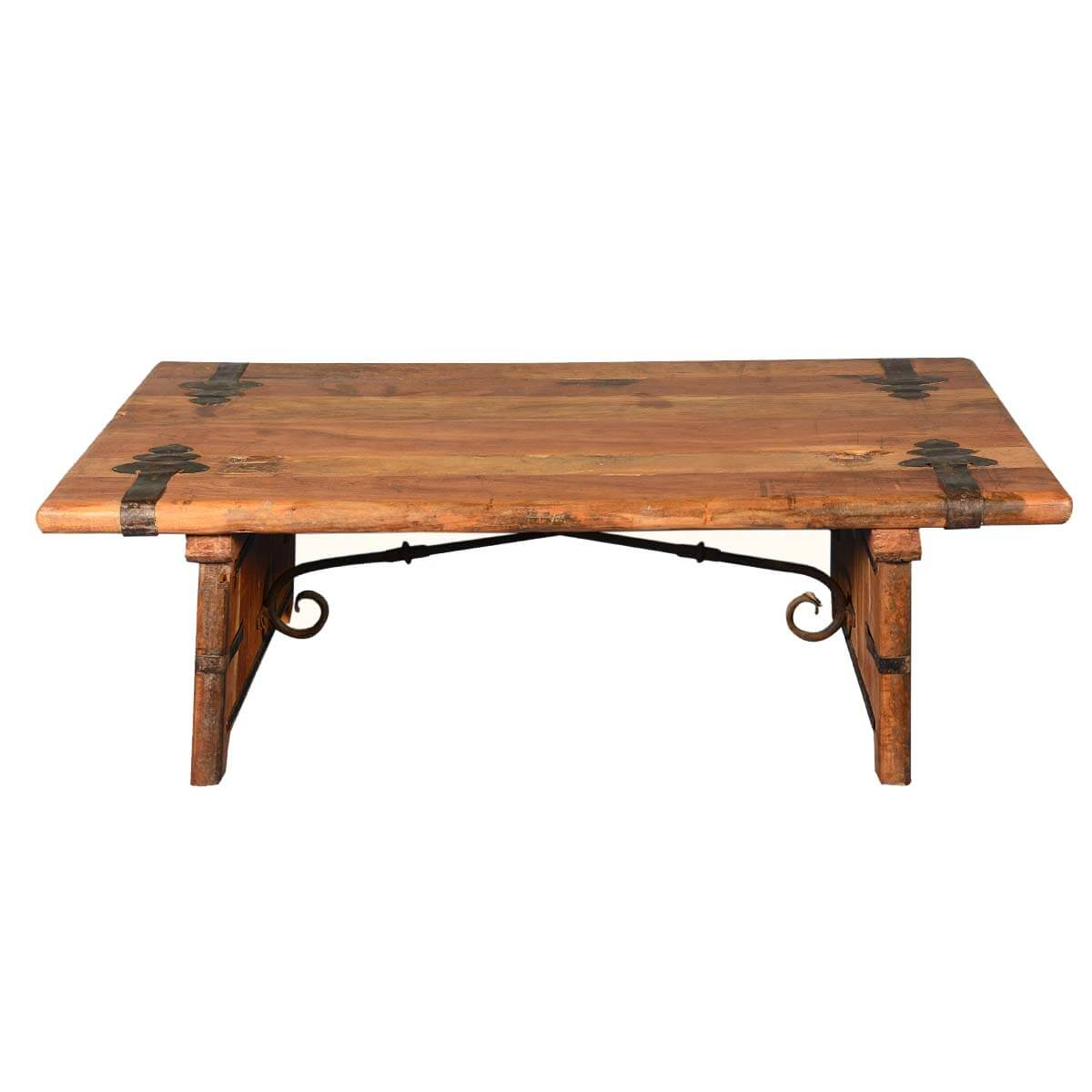 Rustic reclaimed wood wrought iron hastings coffee table Wrought iron coffee tables