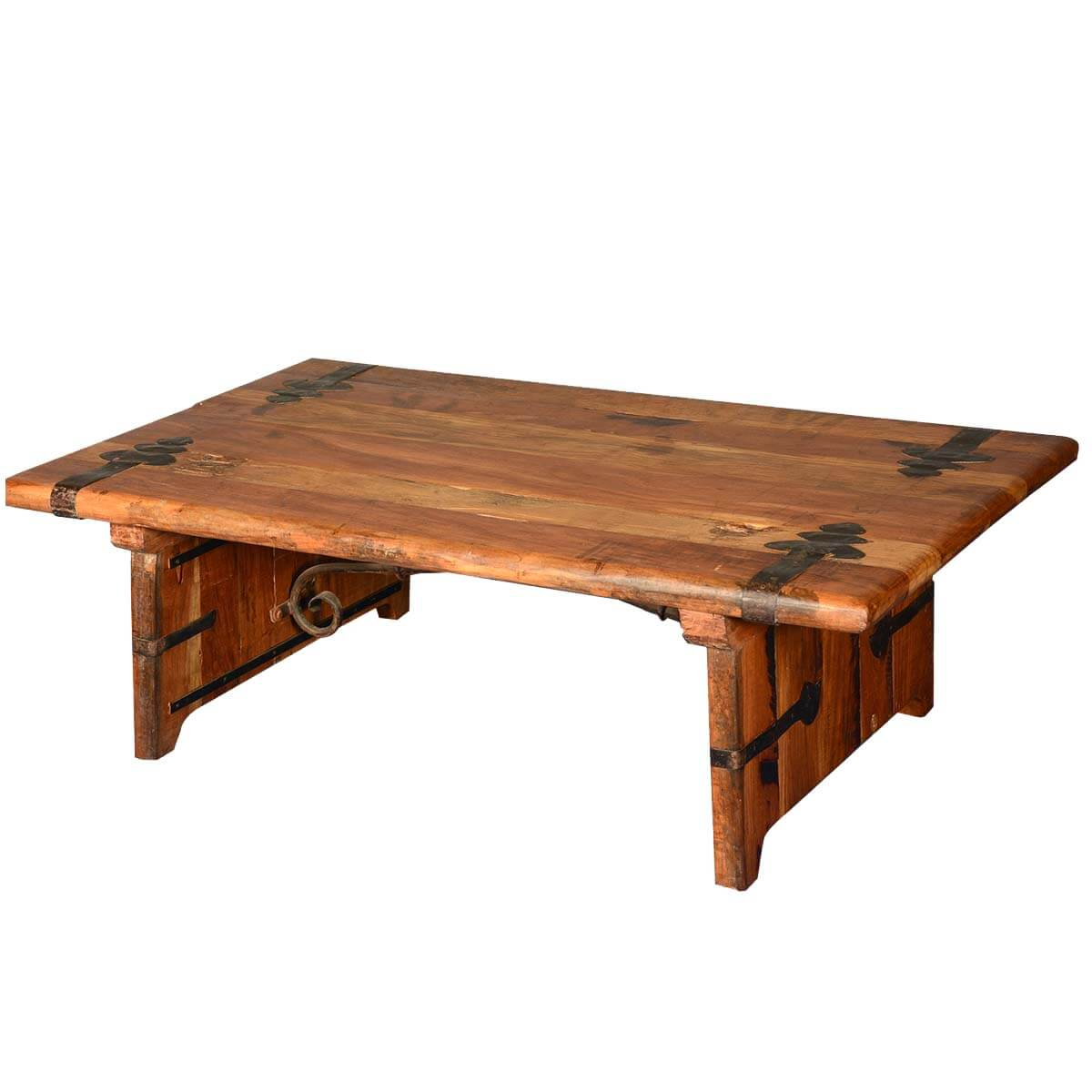 Rustic reclaimed wood wrought iron hastings coffee table for Reclaimed coffee table
