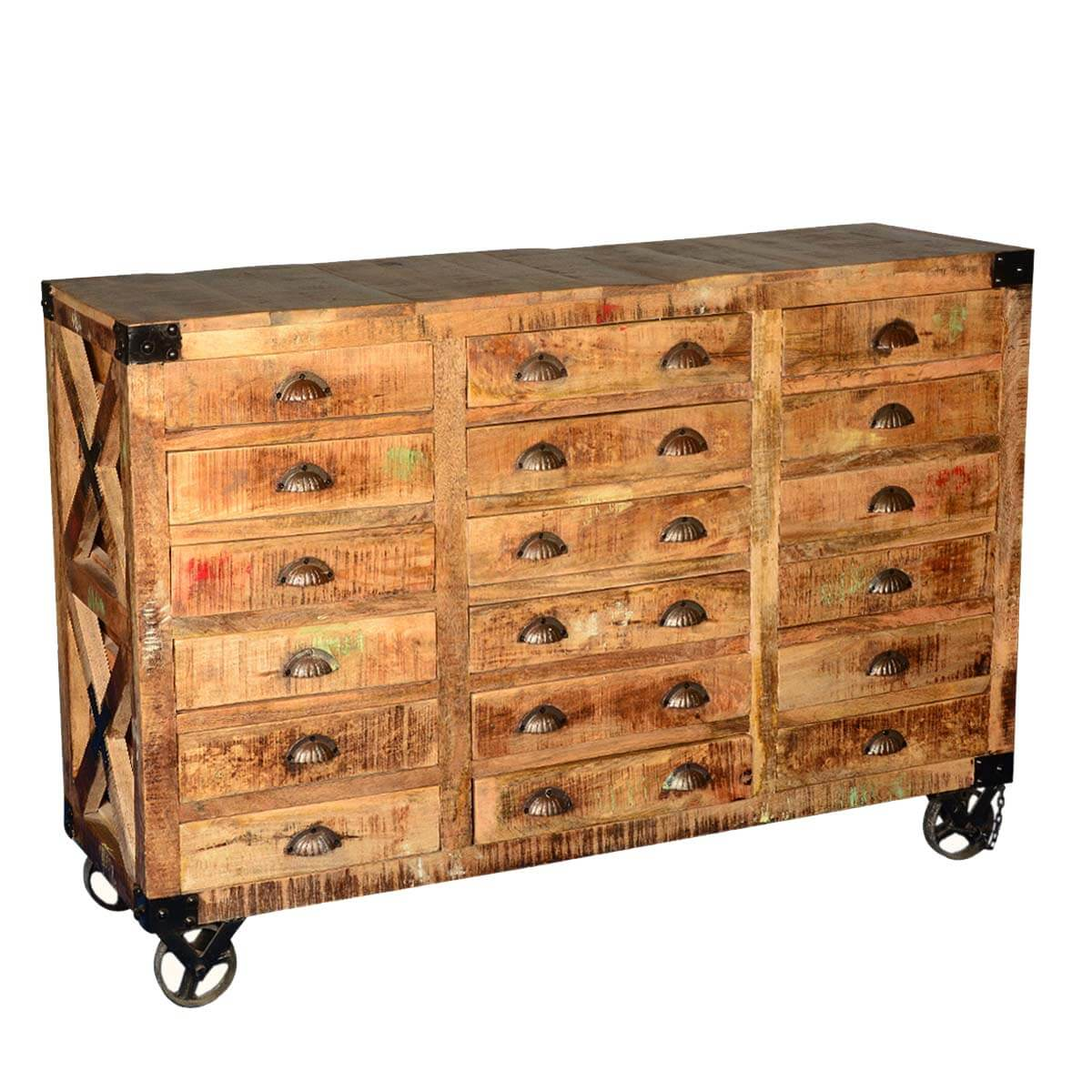 Industrial Hardwood 18 Drawers Apothecary Chest Dresser