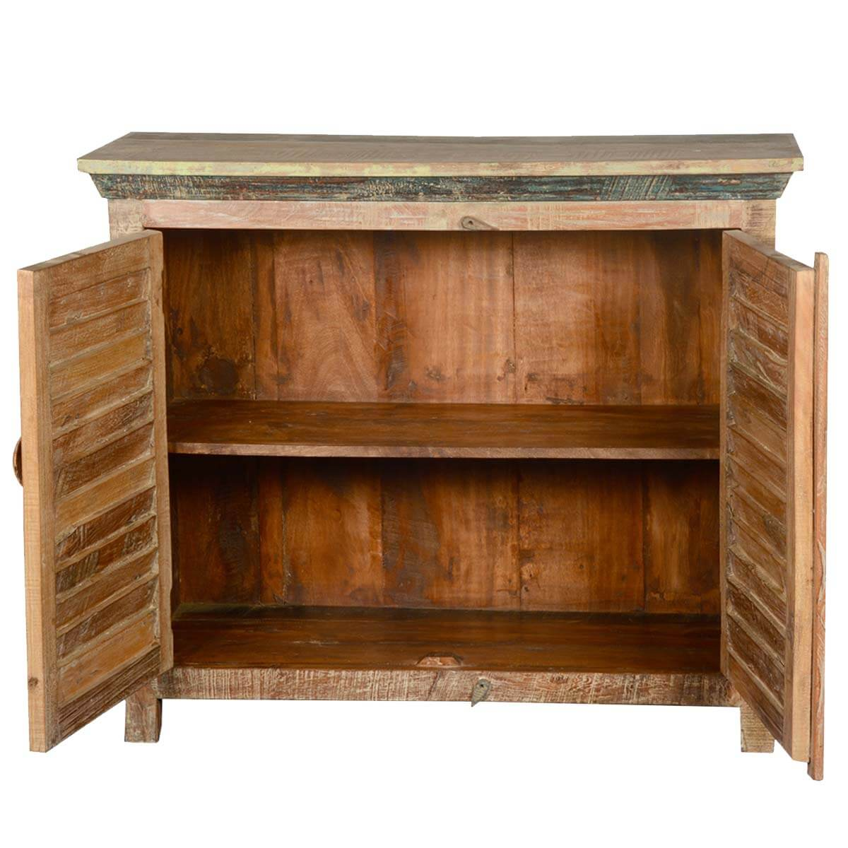 Distressed Reclaimed Wood Buffet 2 Door Kitchen Storage Accent Cabinet