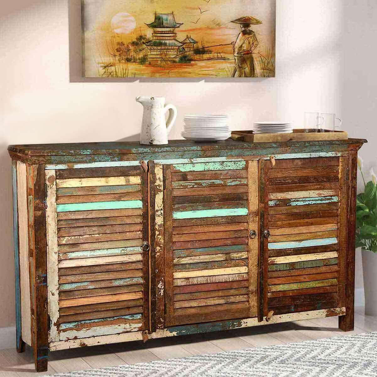 Stockton rustic reclaimed wood shutter door buffet cabinet