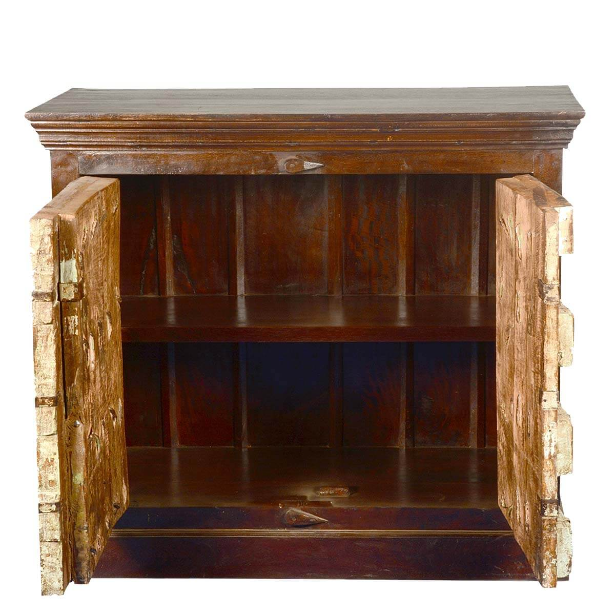 Gothic Teak Wood 2 Door Storage Accent Cabinet Buffet