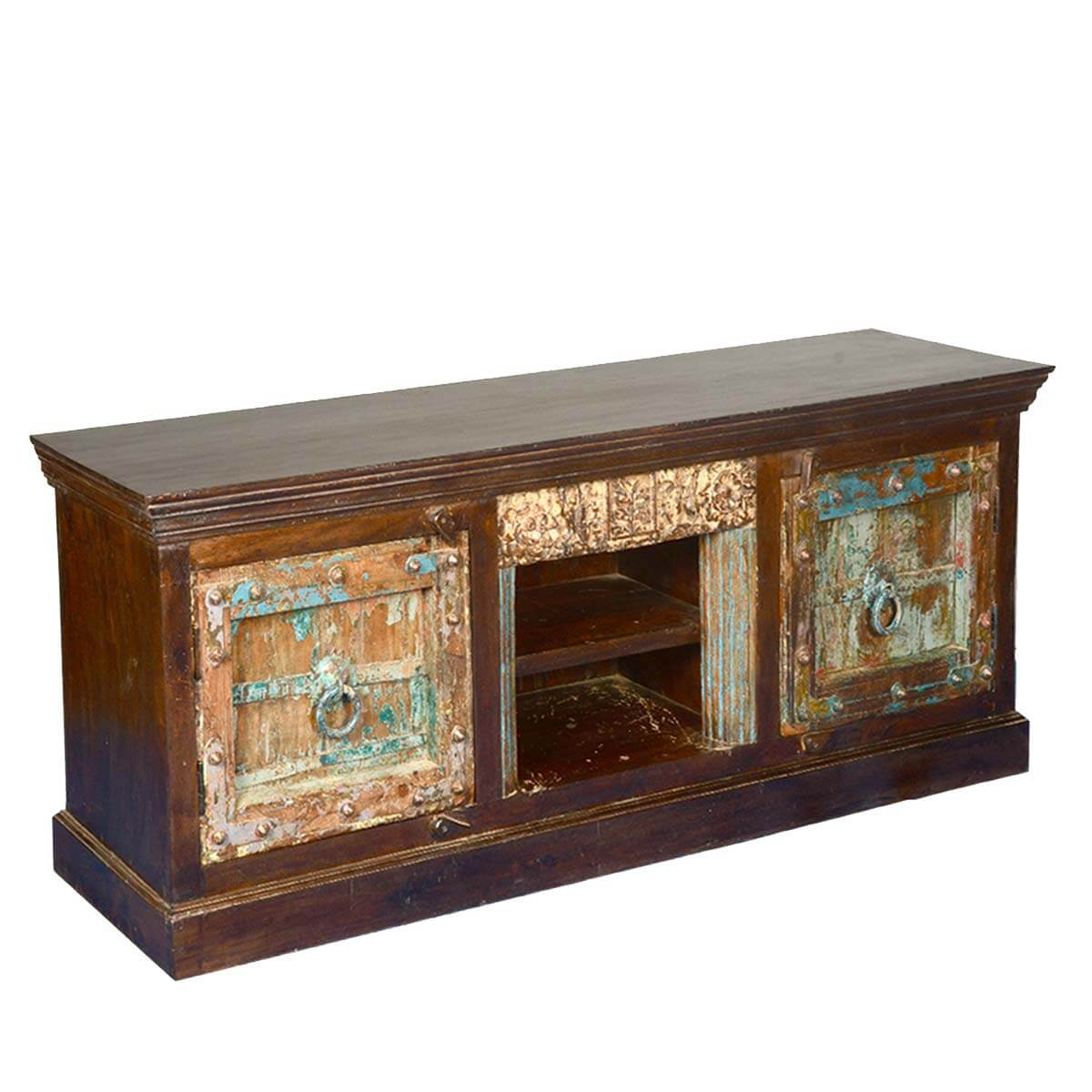 Rustic Teak Mango Wood Gothic Tv Media Console
