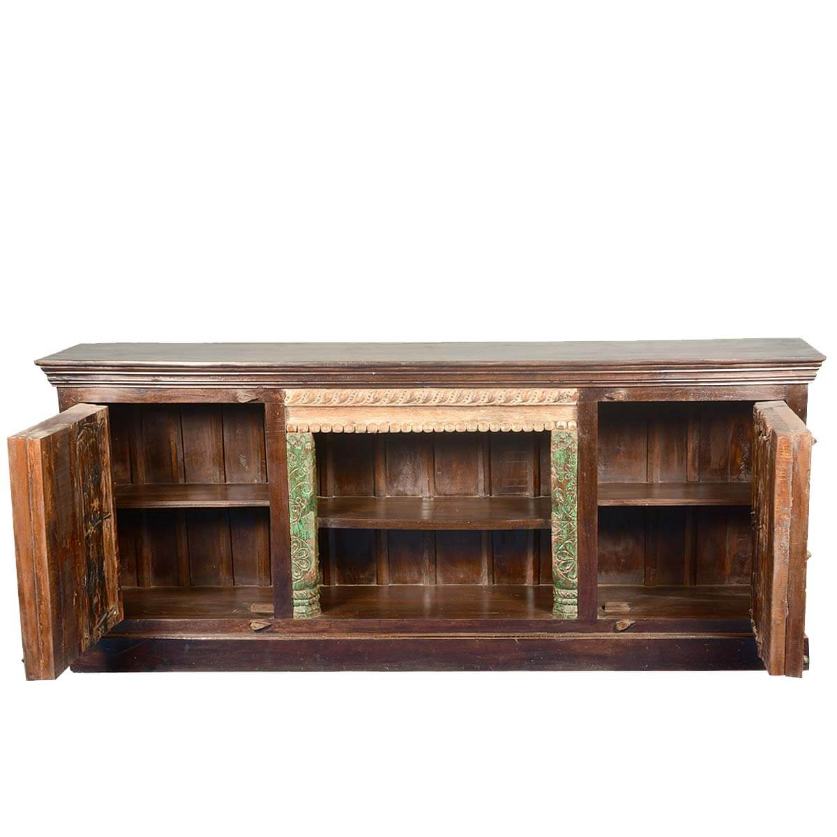 Rustic teak reclaimed wood gothic old doors media console Rustic tv stands