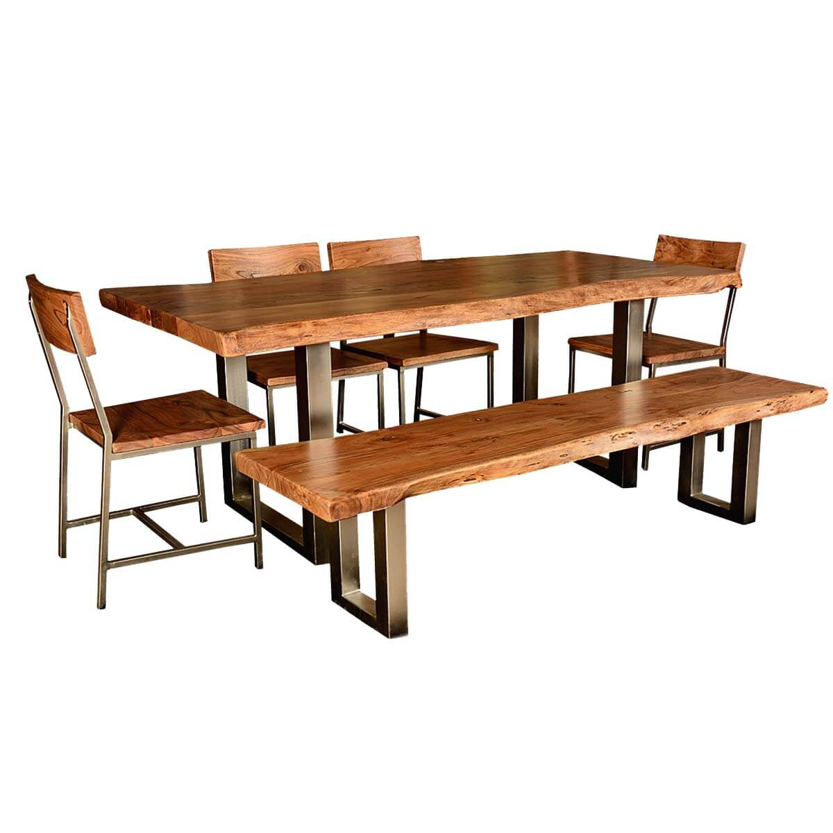 modern rustic live edge dining table chair set with live edge bench. Black Bedroom Furniture Sets. Home Design Ideas
