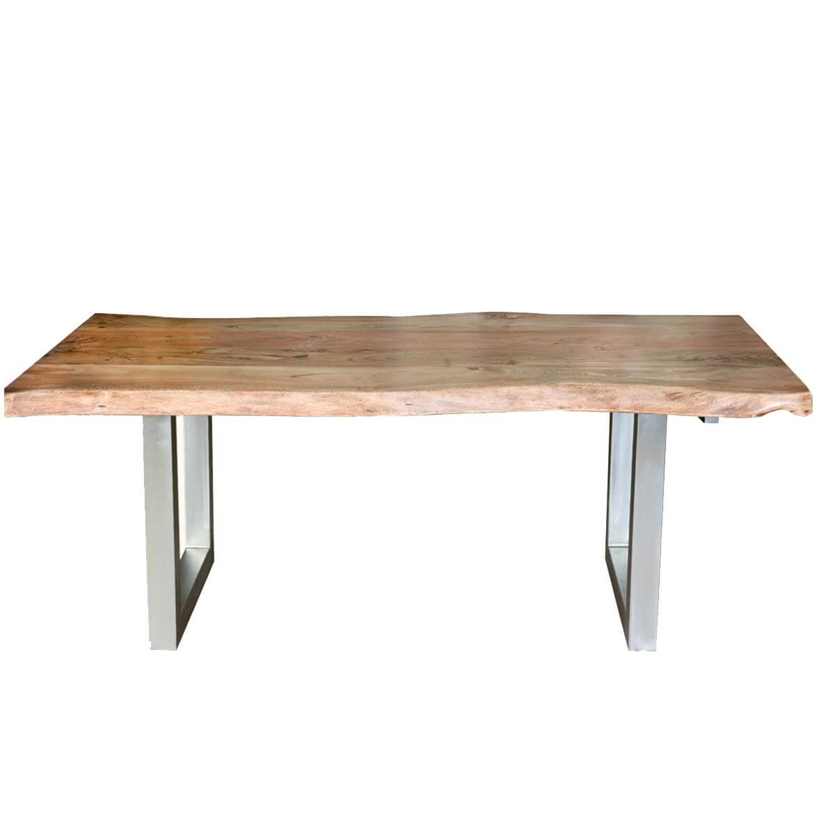 Modern rustic live edge dining table chair set with live for Bench table set