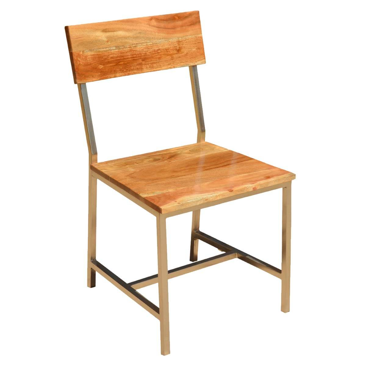 Rustic Modern Wood Dining Chair: Unique Live Edge Modern Rustic Dining Table & Chair Set W