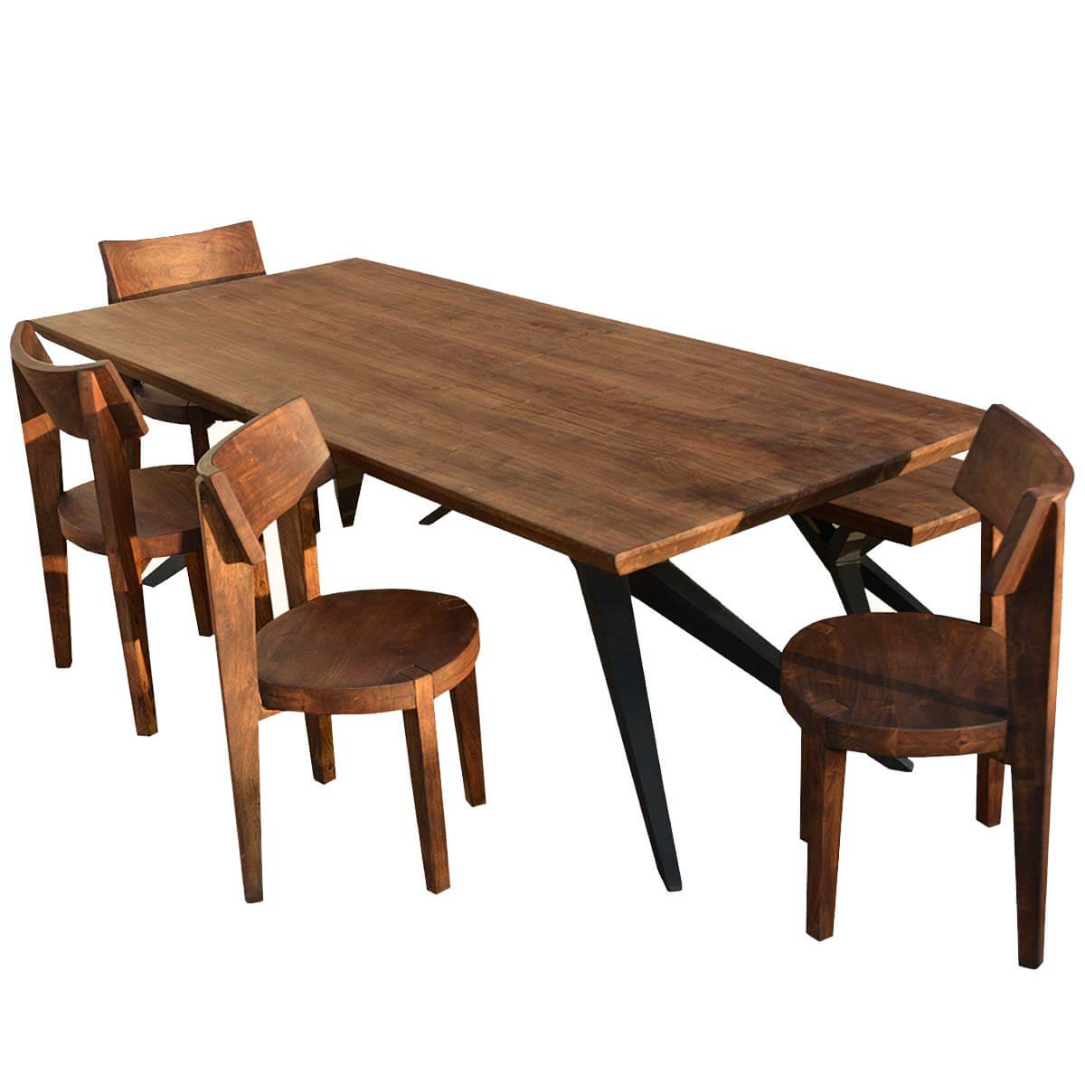 Unique rustic urban loft industrial dining table chair for Unique dining table sets