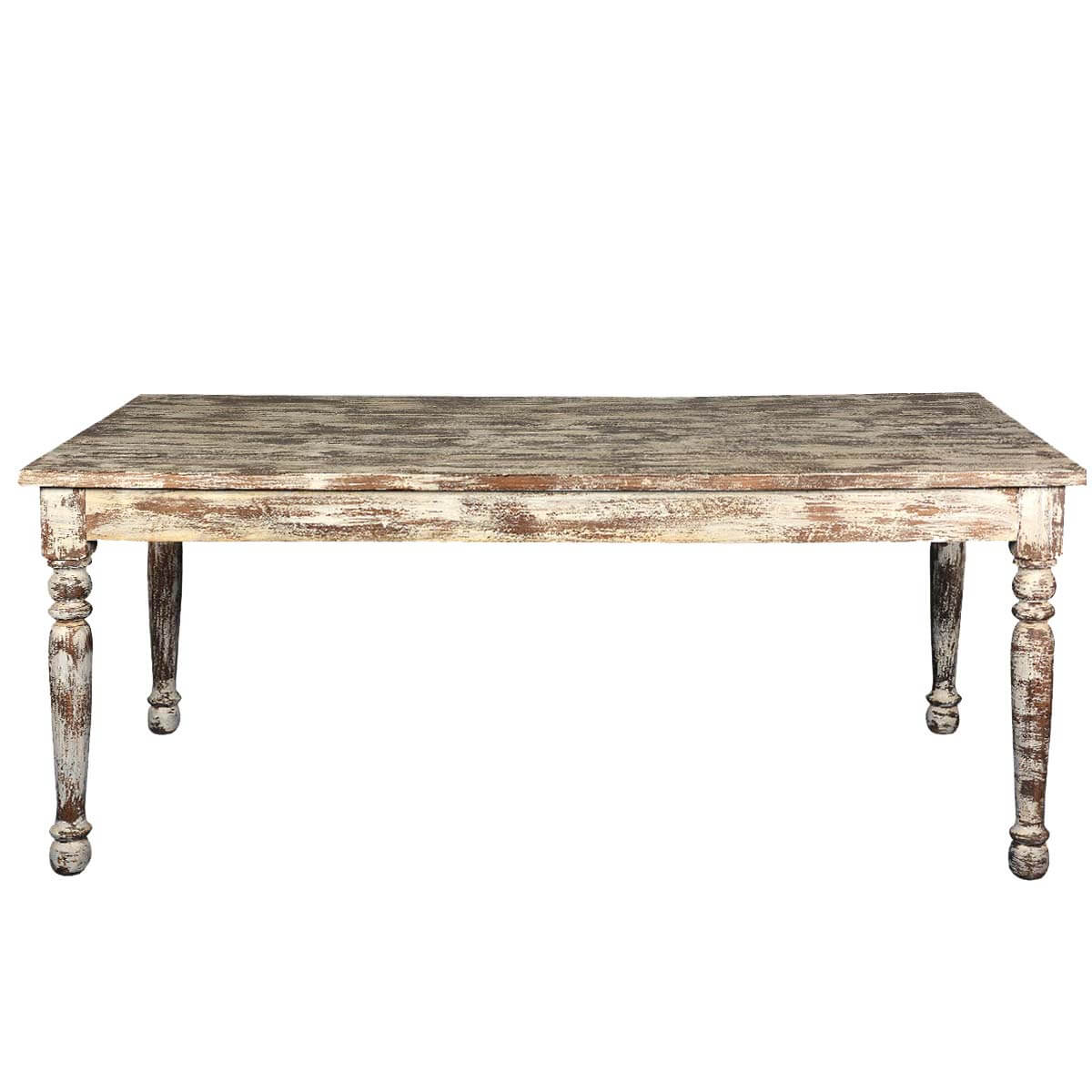 Distressed white finish mango wood farmhouse dining table for Farmhouse dining table