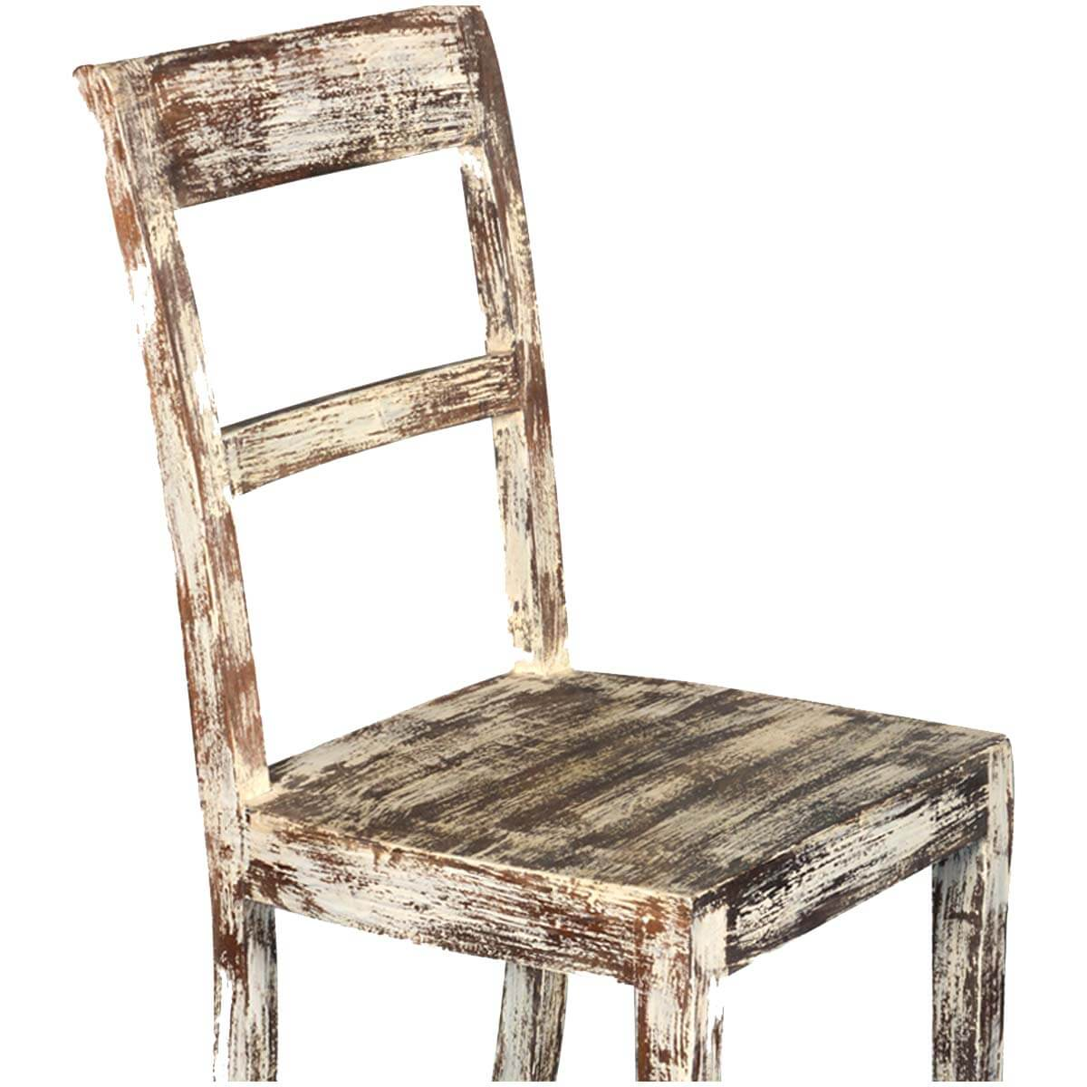 White distressed mango wood rustic school back side dining for White wood dining room chairs