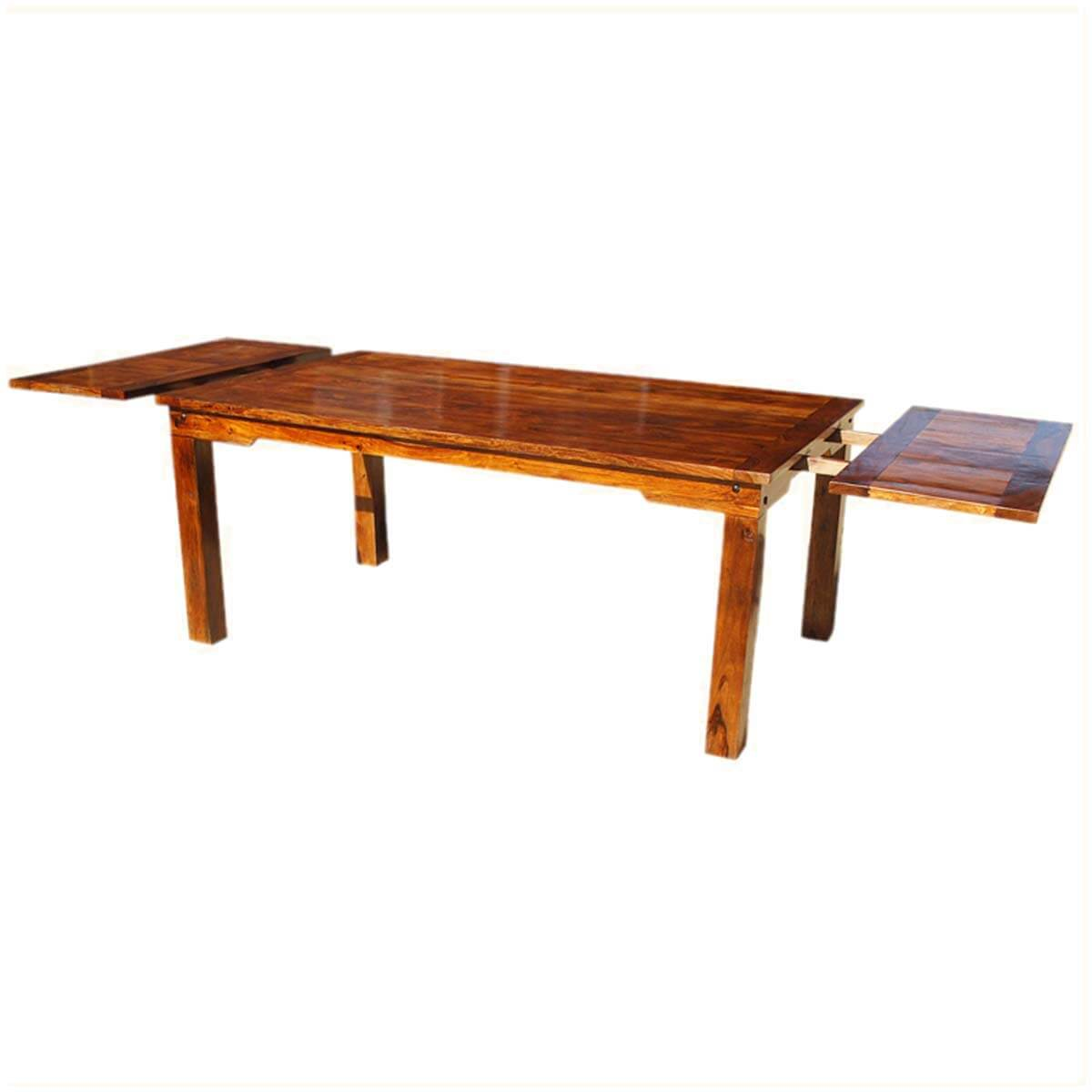 Solid wood transitional rustic dining table w extensions for Hardwood dining table