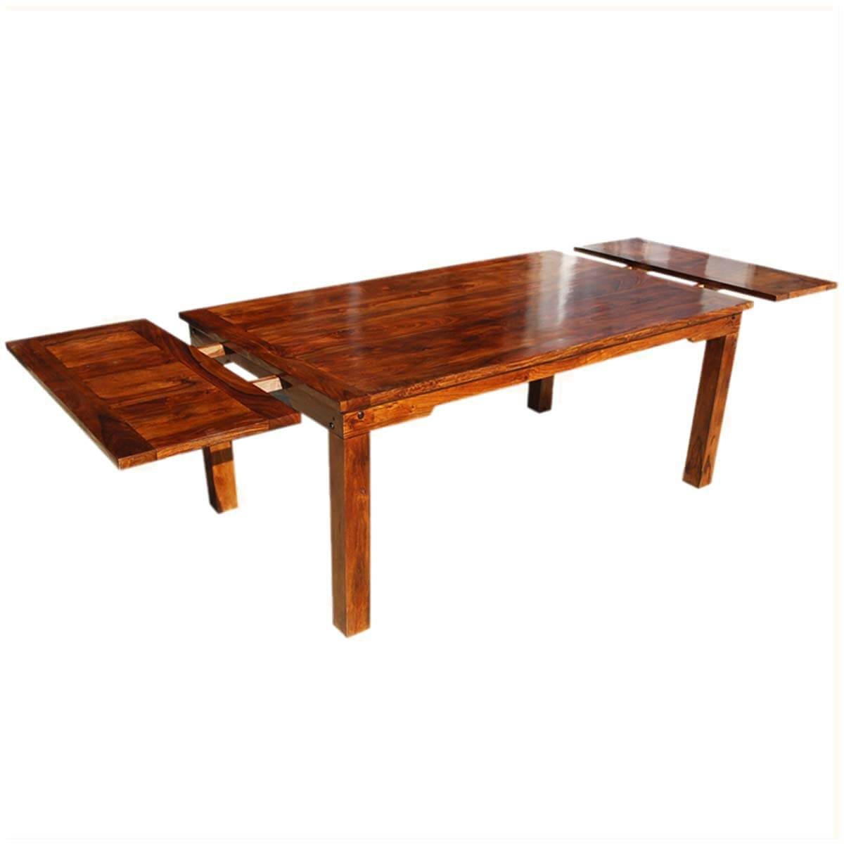 Solid Wood Transitional Dining Table And Chairs Set: Solid Wood Transitional Rustic Dining Table W Extensions