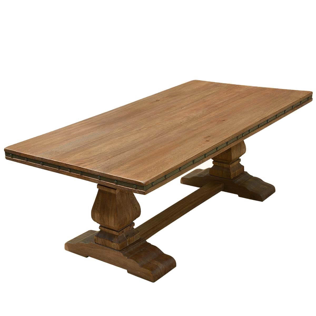 Rustic solid wood trestle pedestal base harvest dining table for Dining table base