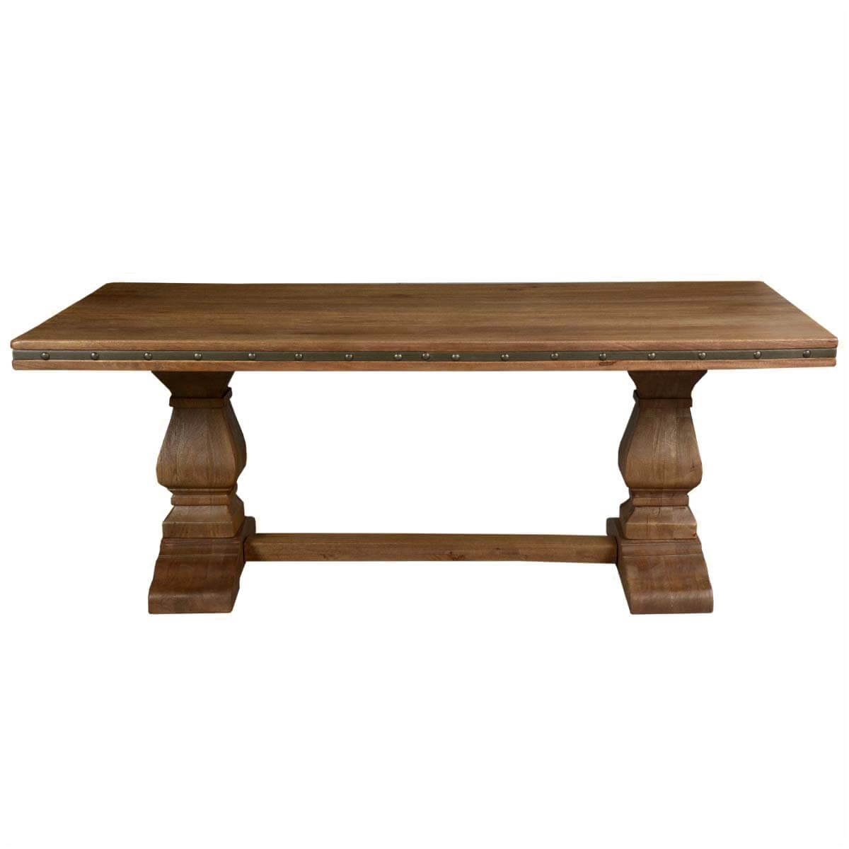 rustic solid wood trestle pedestal base harvest dining table. Black Bedroom Furniture Sets. Home Design Ideas