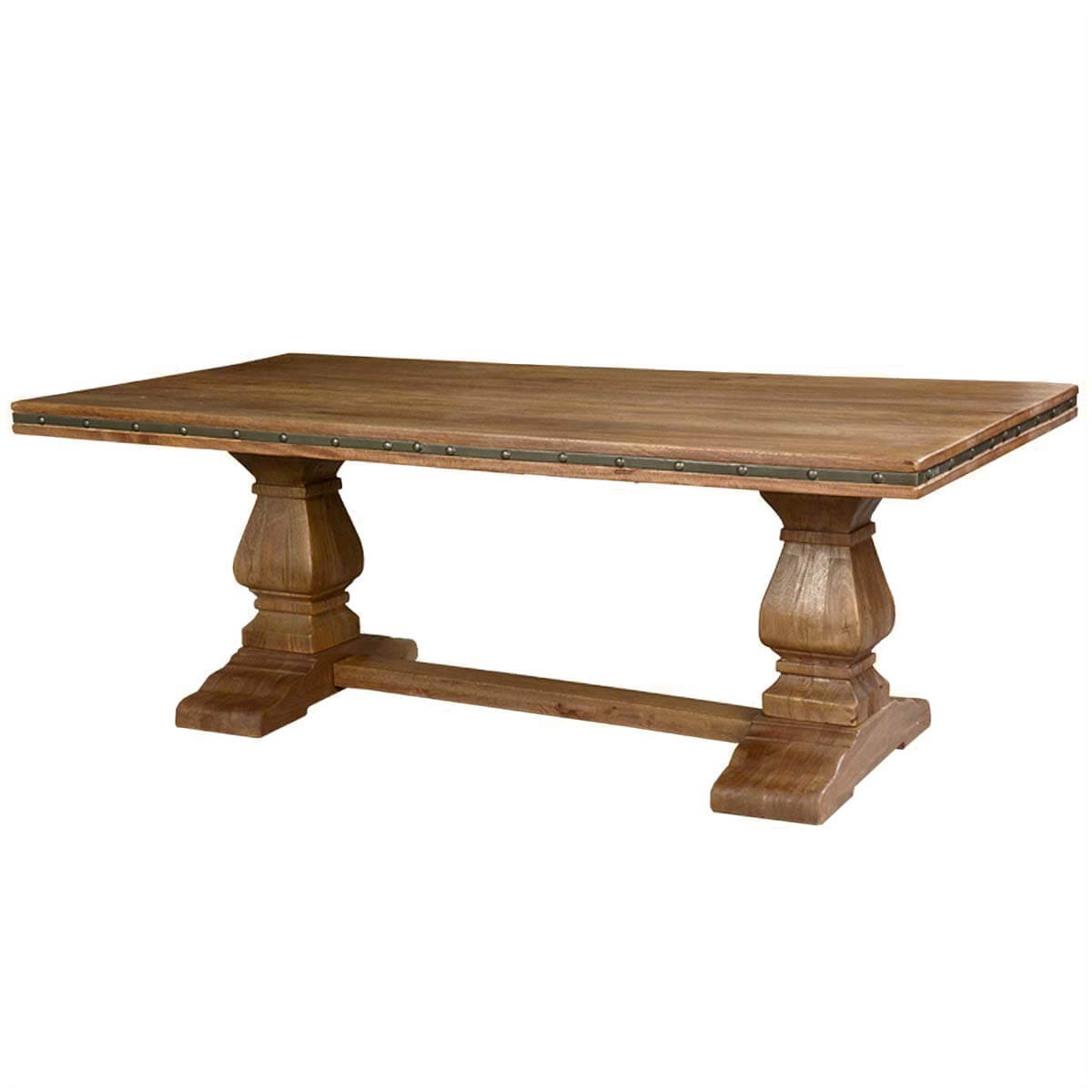 Rustic solid wood trestle pedestal base harvest dining table for Pedestal dining table