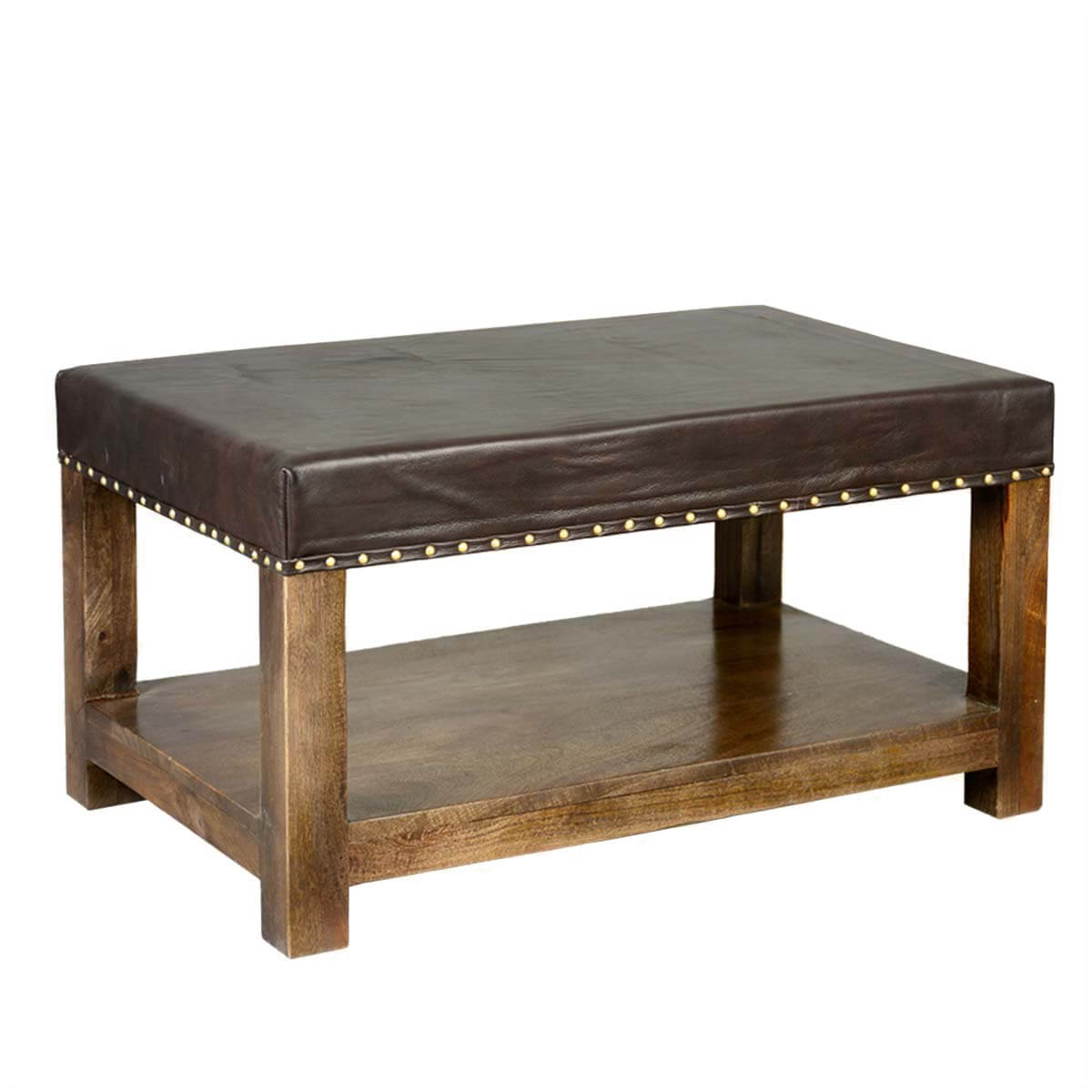 Solid Wood Espresso Leather Upholstered 2 Tier Coffee Table Ottoman
