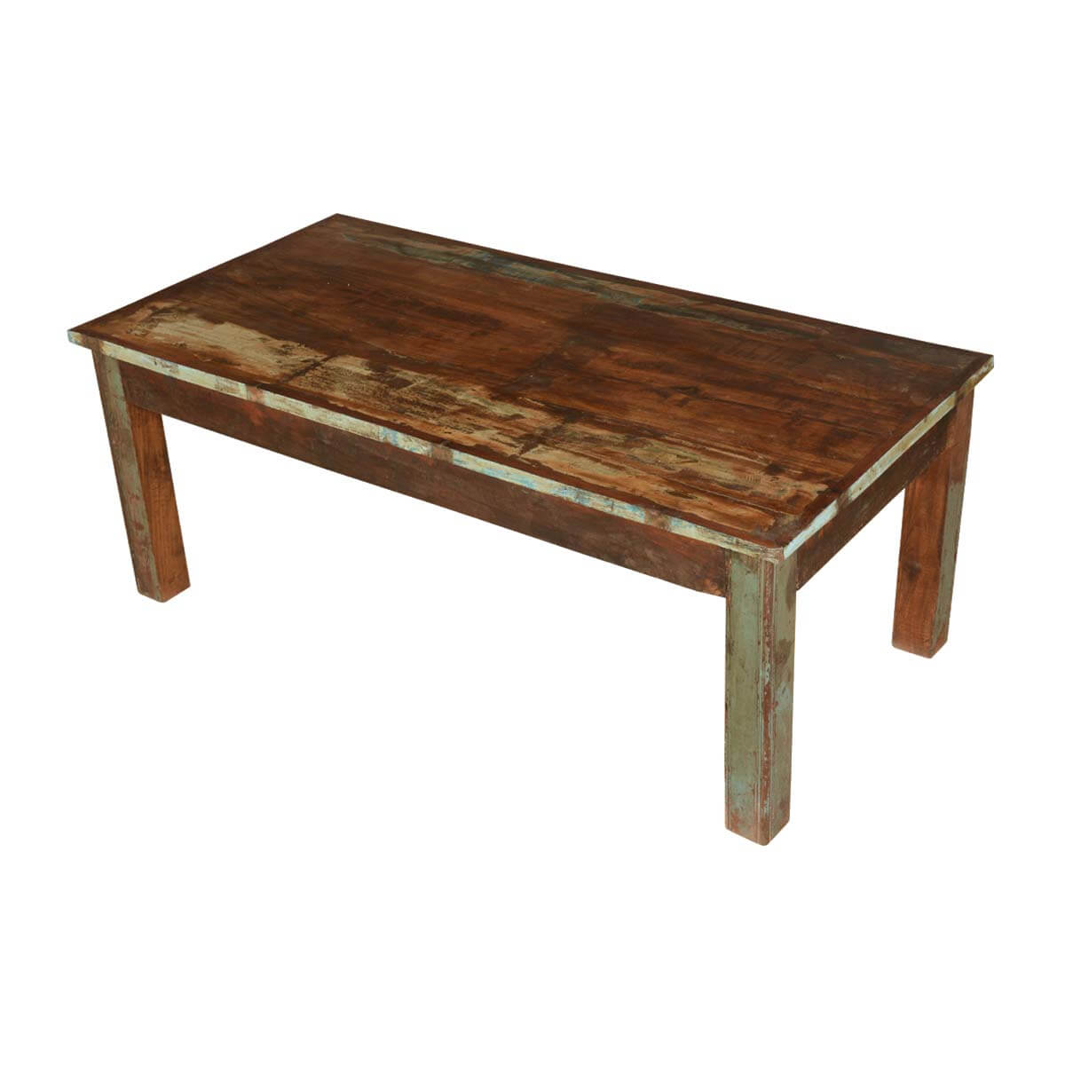 Farmhouse distressed reclaimed wood rustic coffee table for Rustic farm tables for sale
