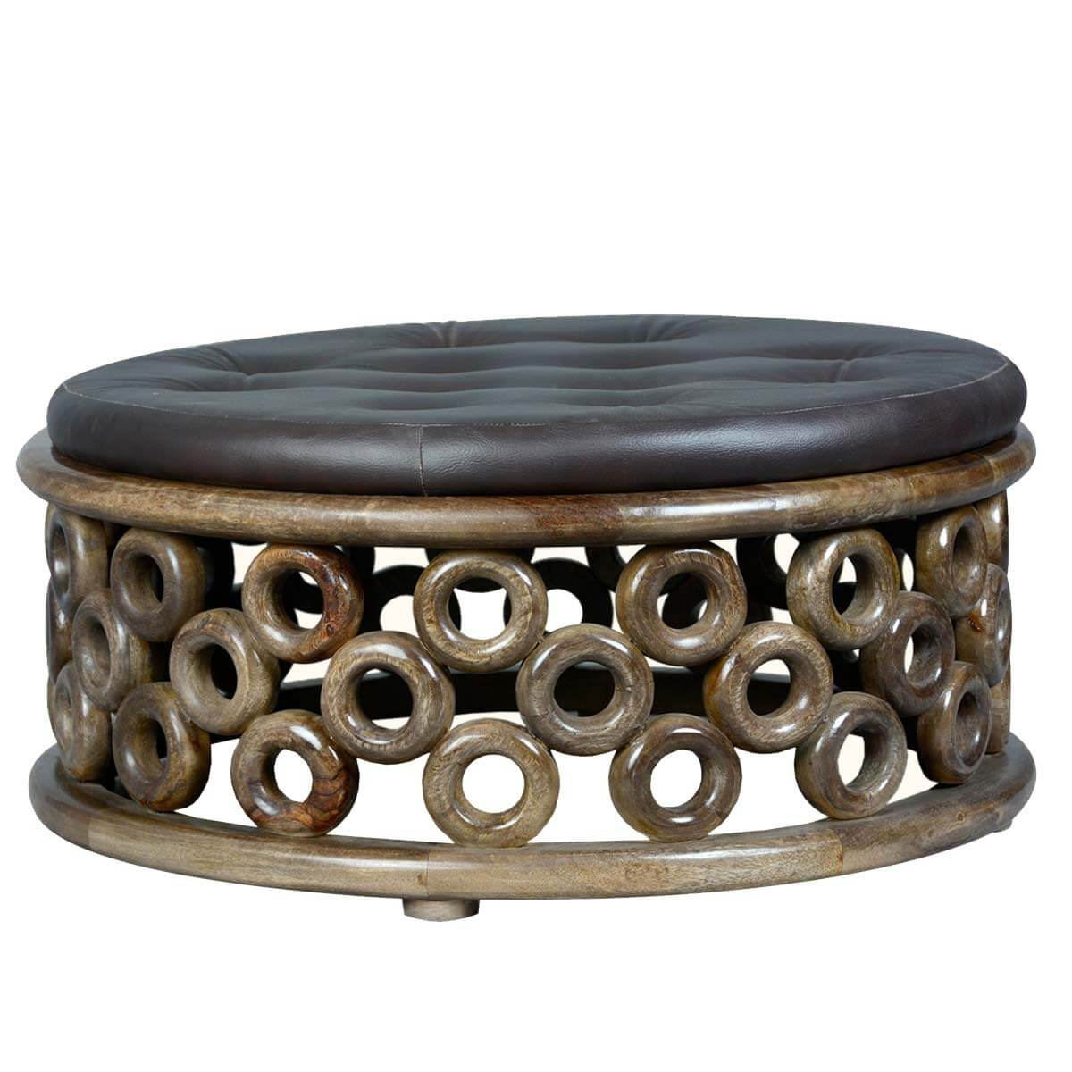 Round O 39 S Mango Wood Leather Upholstered Coffee Table Ottoman