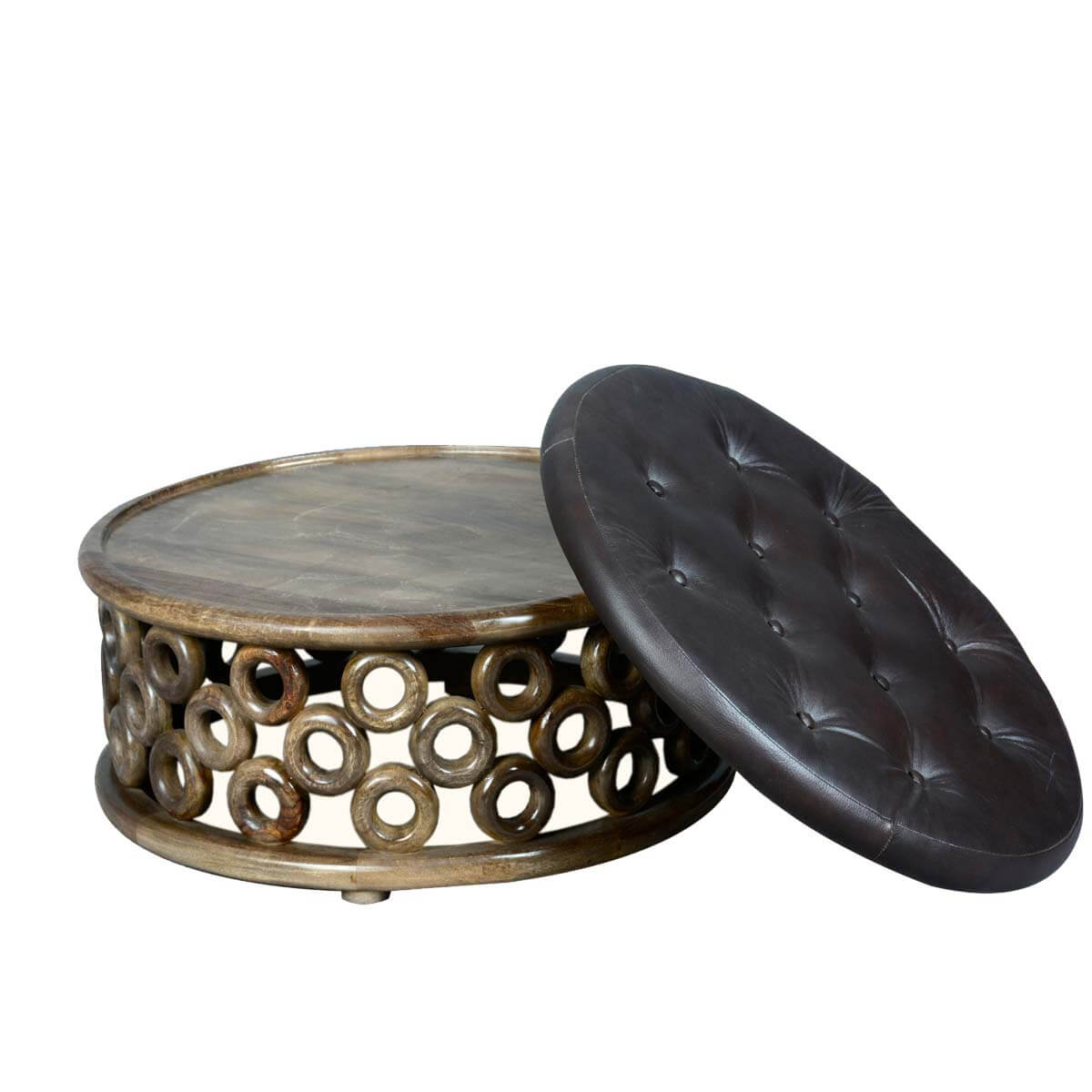Round o 39 s mango wood leather upholstered coffee table ottoman Round leather ottoman coffee table