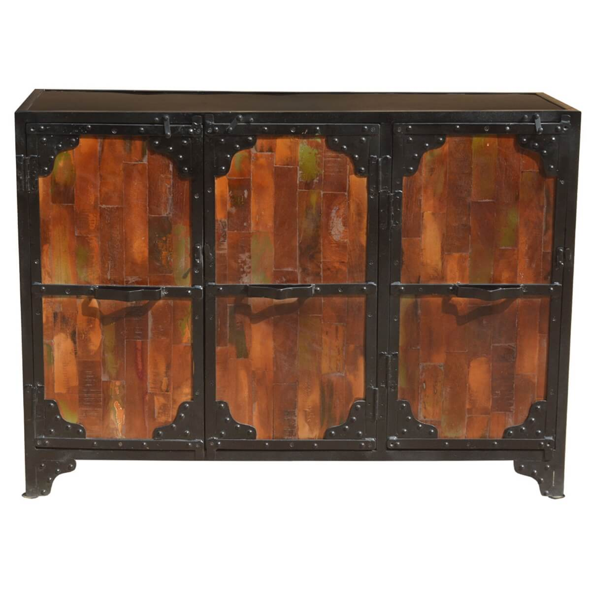 Iron And Wood Buffet ~ Amelia reclaimed wood iron door industrial buffet cabinet