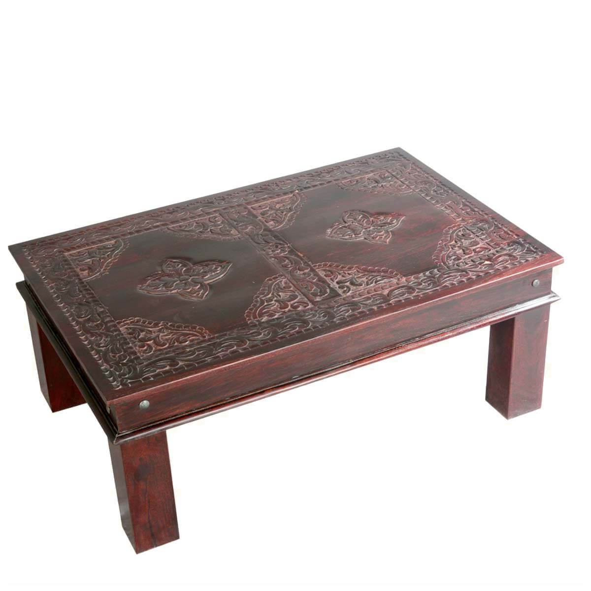 Asian ornate hand carved mango wood coffee table Carved wood coffee table