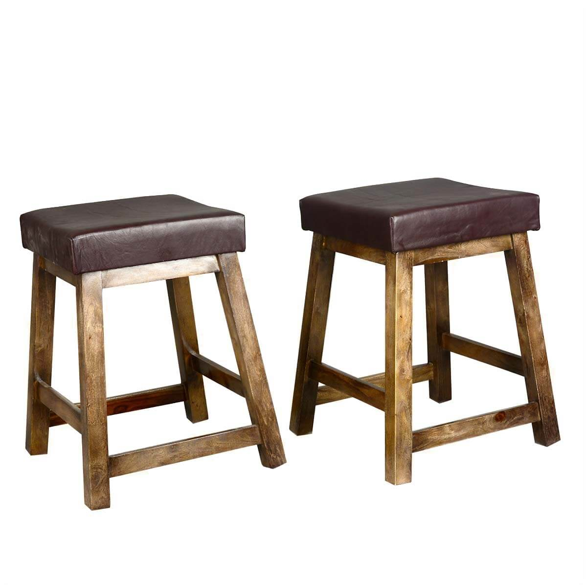 Solid Wood Stools ~ Solid wood leather upholstered duff square counter stool