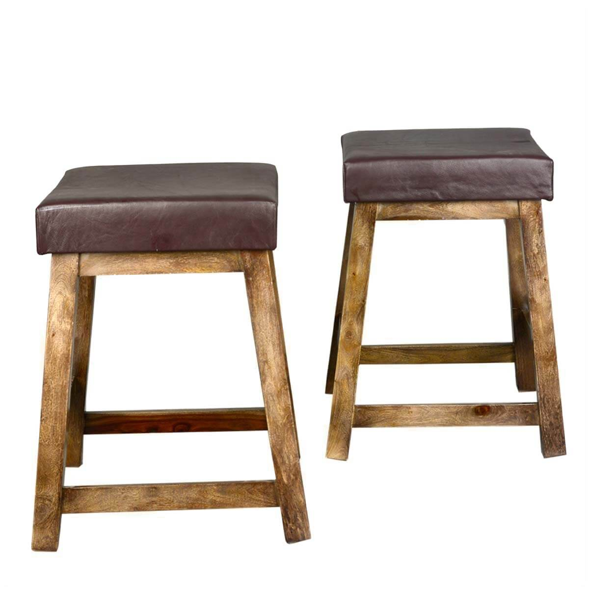 Solid Wood Leather Upholstered Duff Square Counter Stool Set Of 2. Full resolution  image, nominally Width 1200 Height 1200 pixels, image with #A37A28.