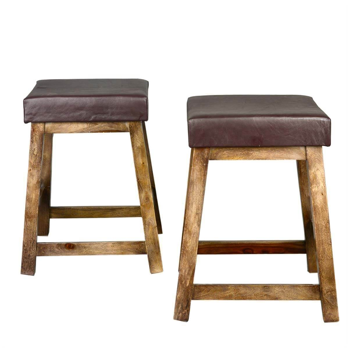 Solid Wood Leather Upholstered Duff Square Counter Stool
