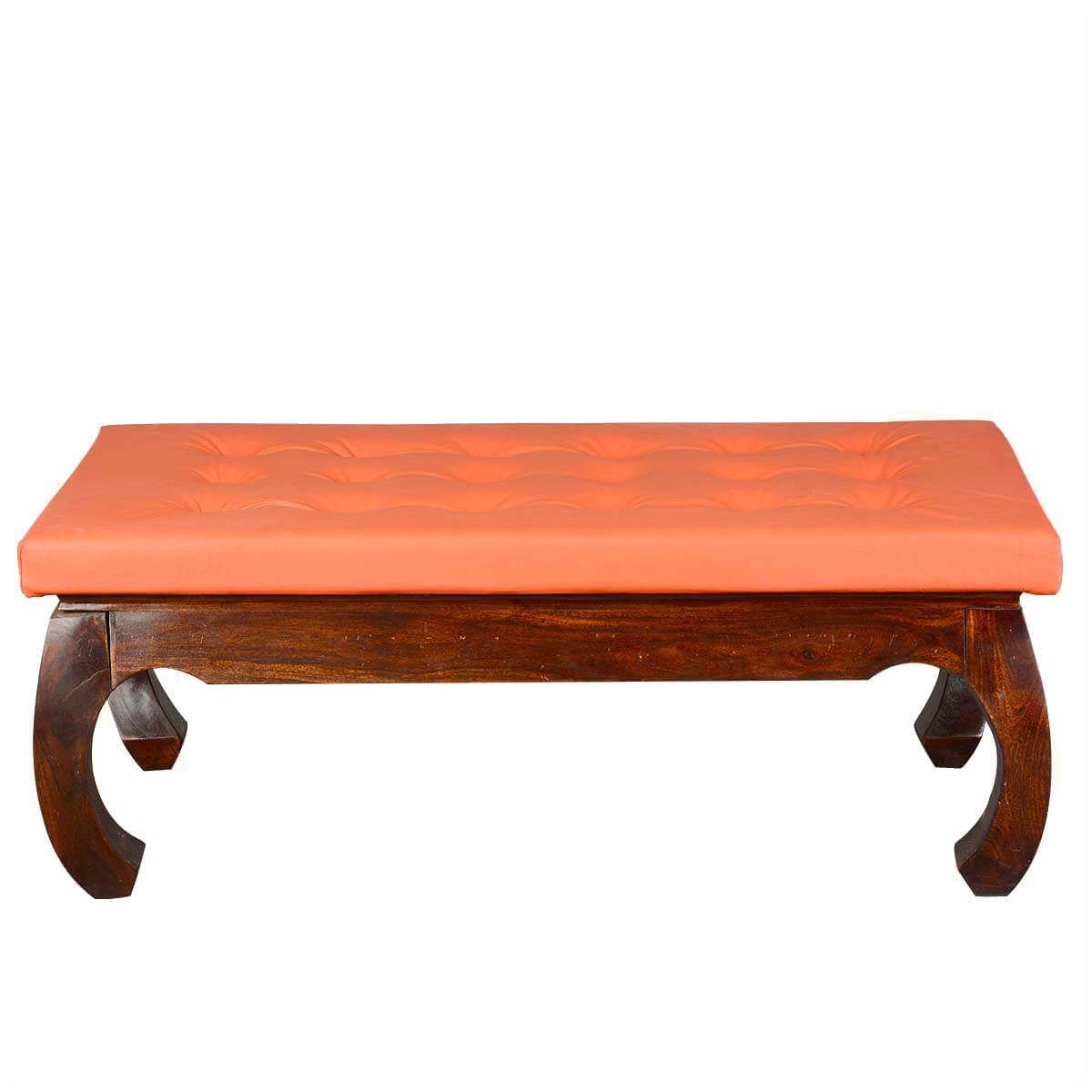 Sante fe leather upholstered solid wood opium coffee table