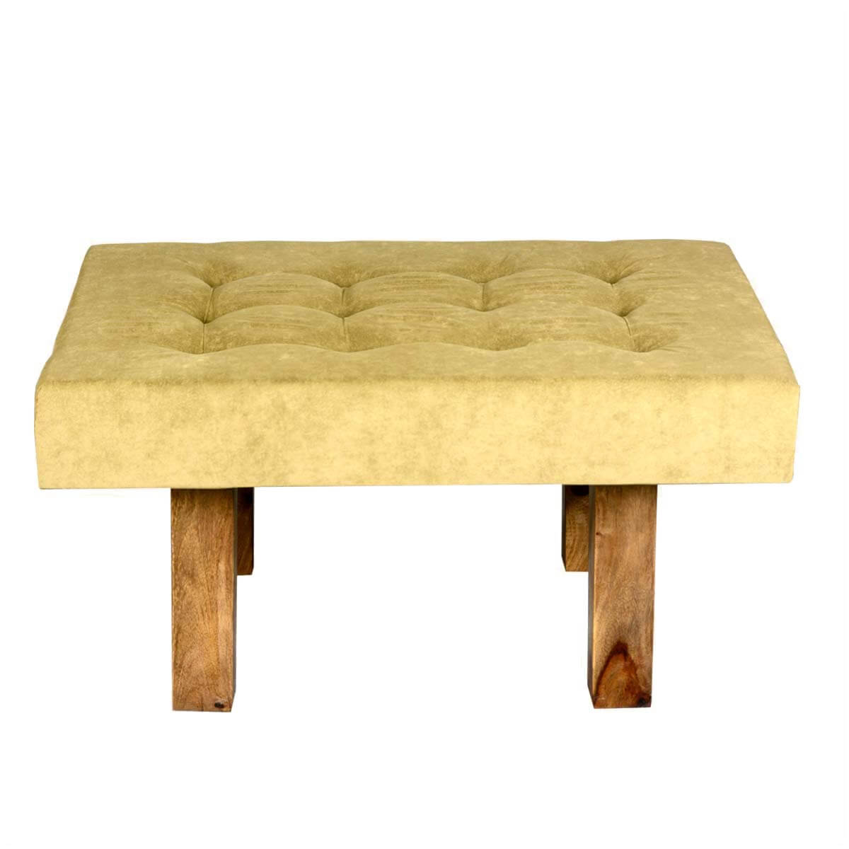 Contemporary Wooden Ottoman ~ Contemporary solid wood tufted fabric coffee table ottoman