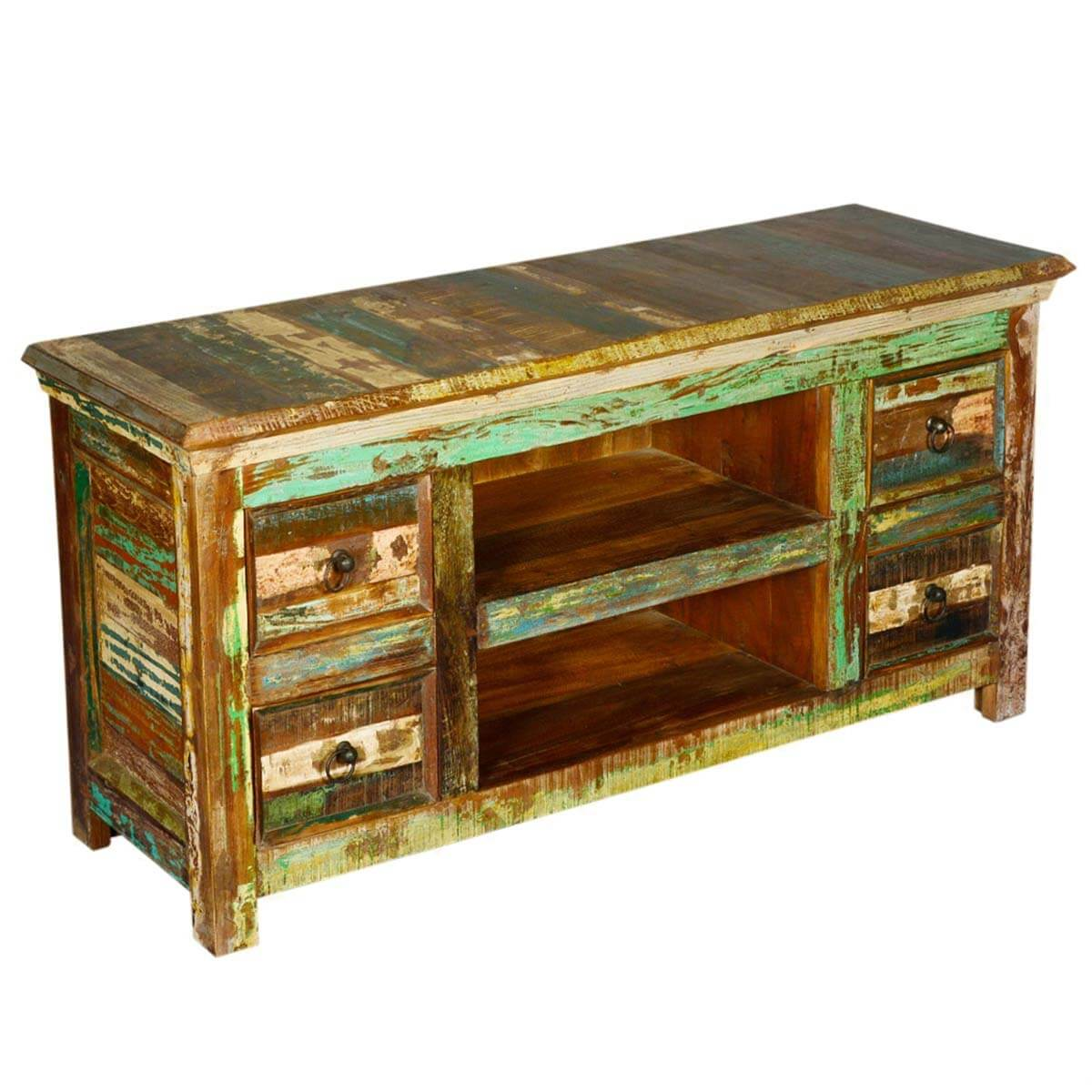 Reclaimed wood furniture drawer rustic tv stand media