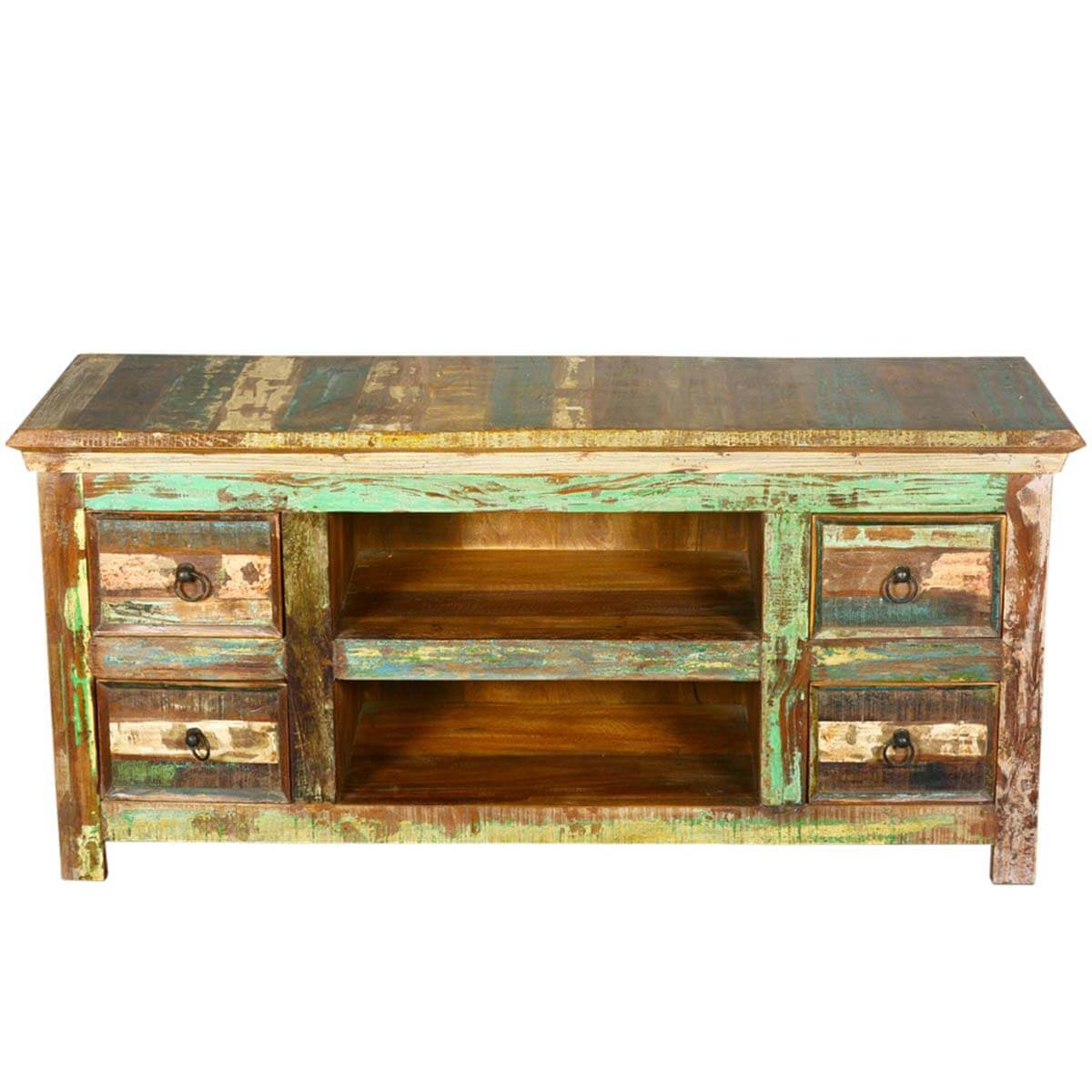 Reclaimed Wood Furniture 4 Drawer Rustic Tv Stand Media