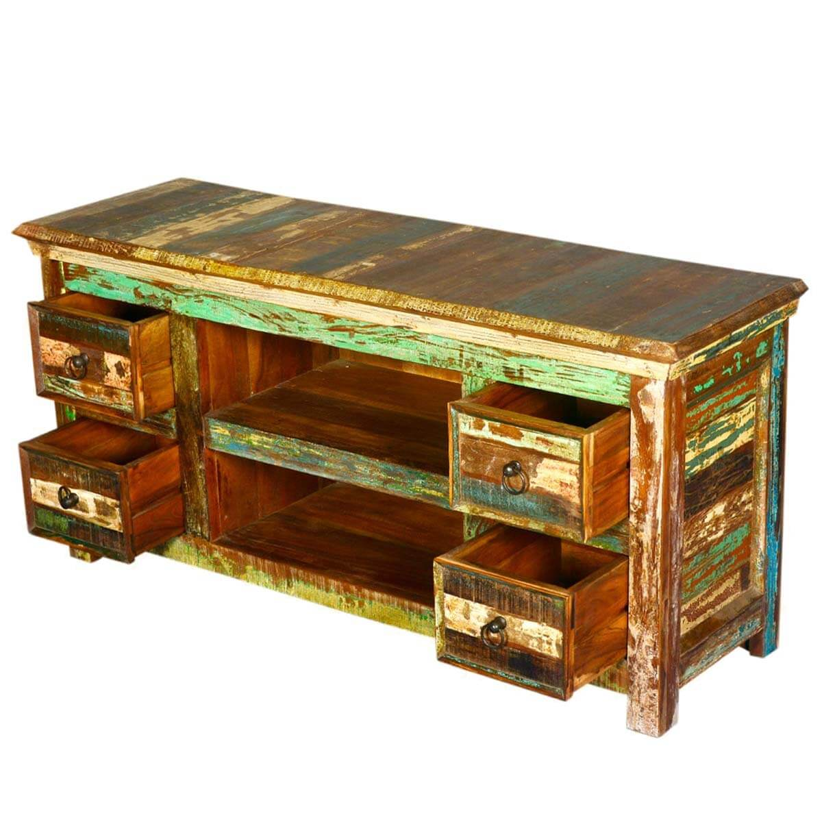 Wood Media Console Furniture ~ Reclaimed wood furniture drawer rustic tv stand media