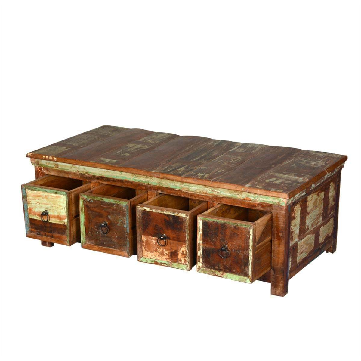 Rustic reclaimed wood coffee table with storage drawers