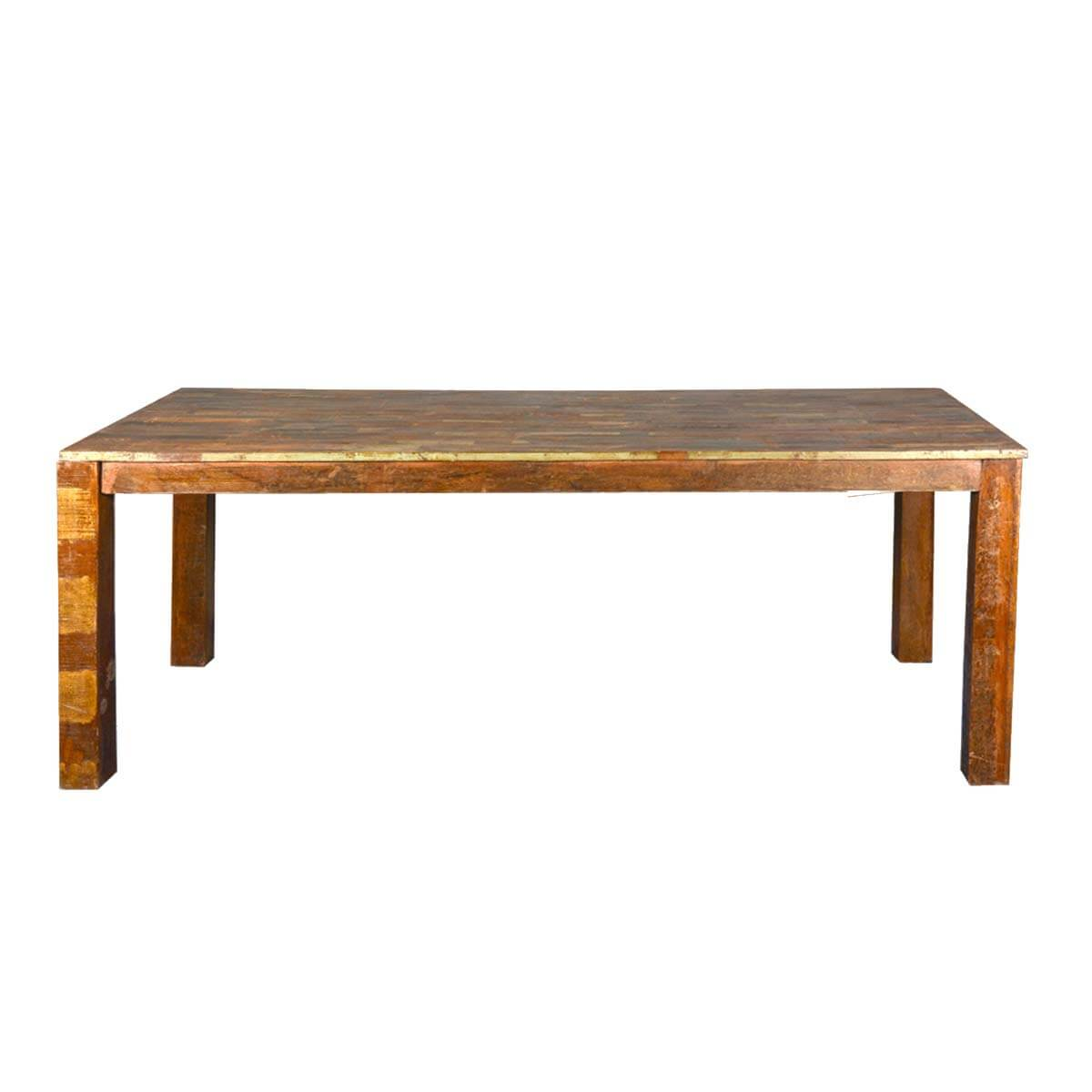 Rustic parquet top reclaimed wood dining table Rustic wood dining table