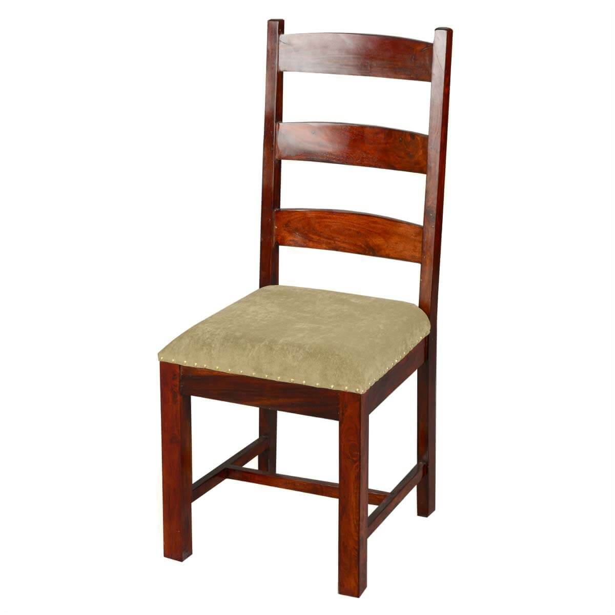 Traditional solid rosewood upholstered ladder back side dining chair - Ladder back dining room chairs ...